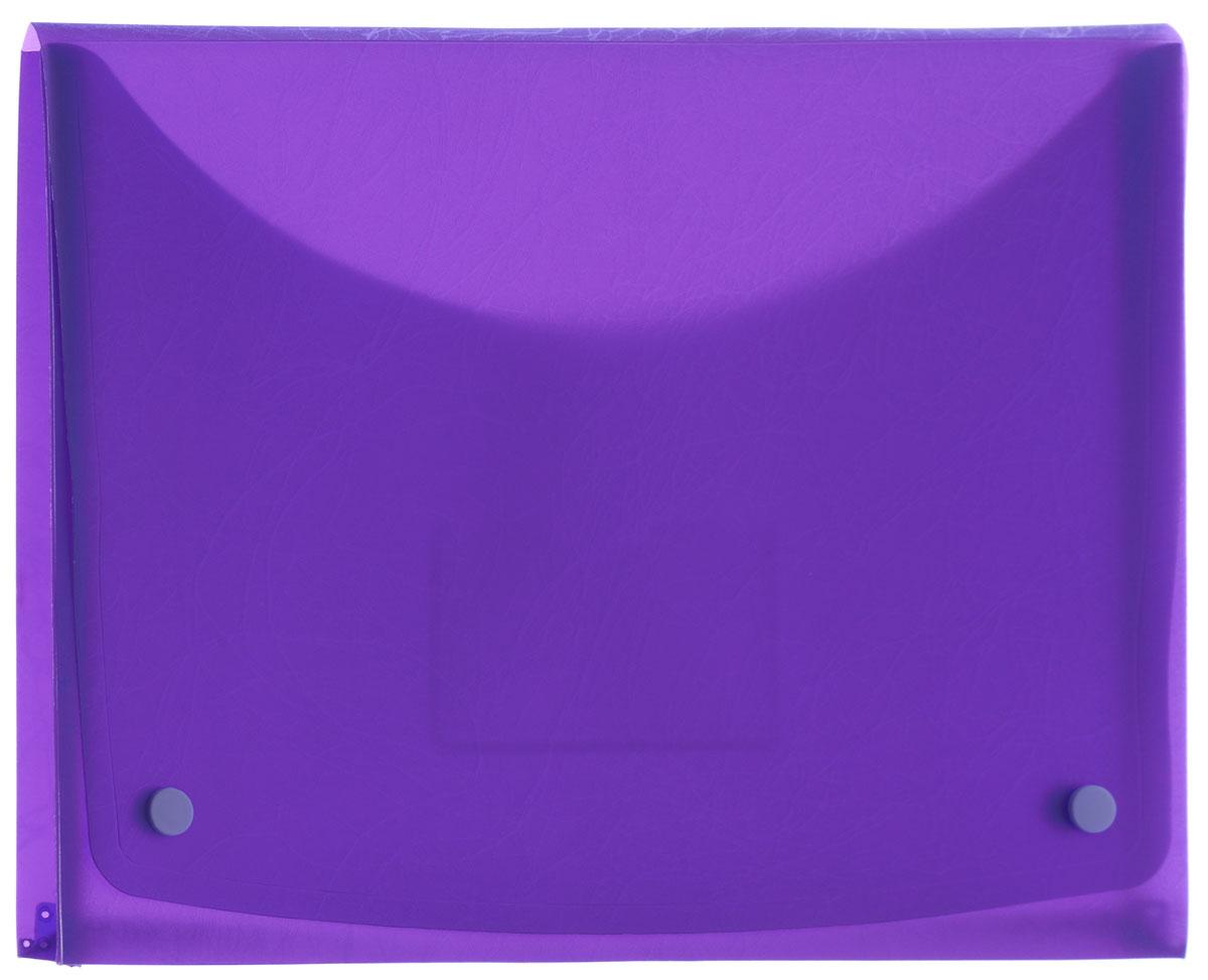 Centrum Папка-конверт Soft Touch на 2 кнопках цвет фиолетовый84016_фиолетовыйПапка-конверт на 2 кнопках Soft Touch - это удобный и функциональный офисный инструмент, предназначенный для хранения и транспортировки рабочих бумаг и документов формата А4.Папка с двойной угловой фиксацией изготовлена из износостойкого пластика. Внутри, под клапаном расположен небольшой кармашек для заметок. Папка оформлена оригинальным тиснением.Папка - это незаменимый атрибут для студента, школьника, офисного работника. Такая папка надежно сохранит ваши документы и сбережет их от повреждений, пыли и влаги.