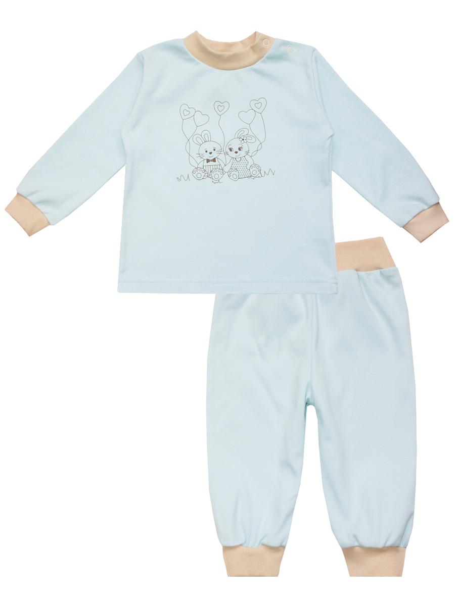 Пижама детская КотМарКот, цвет: голубой. 3288. Размер 80, 9-12 месяцев3288Детская пижама КотМарКот, состоящая из футболки с длинным рукавом и брюк, идеально подойдет вашему ребенку и станет отличным дополнением к его гардеробу. Выполненная из натурального хлопка, она необычайно мягкая и легкая, не сковывает движения, позволяет коже дышать и не раздражает даже самую нежную и чувствительную кожу ребенка. Футболка с длинными рукавами и круглым вырезом горловины имеет застежки-кнопки по плечевому шву, что помогает с легкостью переодеть ребенка. Вырез горловины и манжеты на рукавах дополнены трикотажными эластичными резинками. Модель оформлена принтом с изображением очаровательных зайчат.Брюки прямого кроя на талии имеют эластичную резинку, благодаря чему они не сдавливают животик ребенка и не сползают. Низ брючин дополнен широкими трикотажными манжетами. В такой пижаме ваш ребенок будет чувствовать себя комфортно и уютно во время сна.