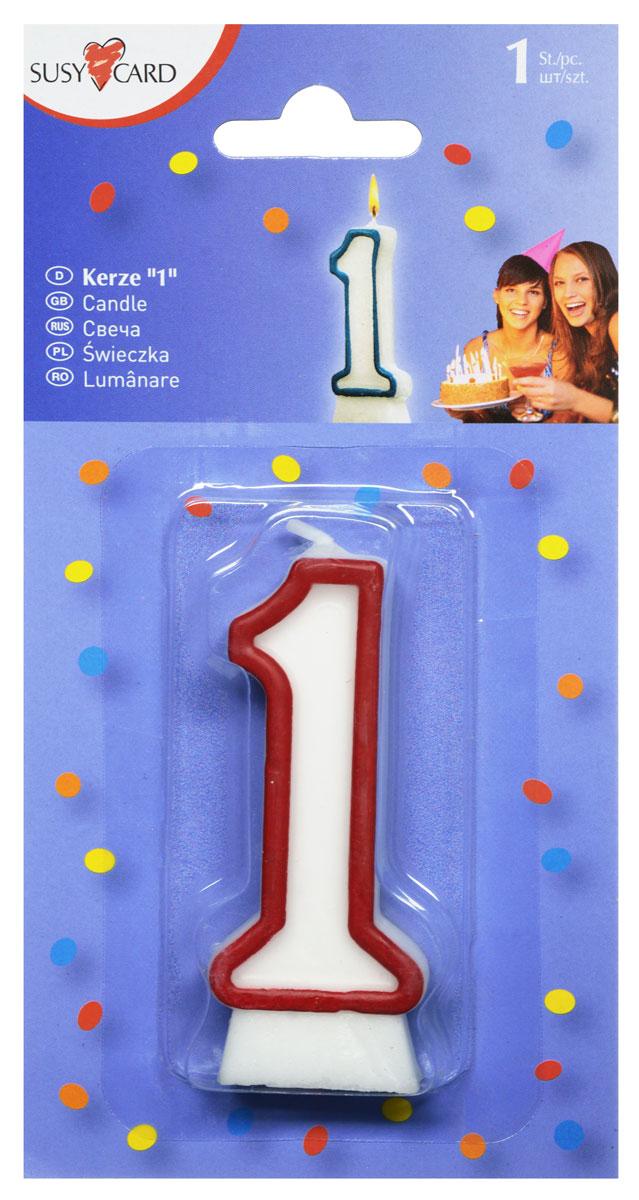 Susy Card Свеча-цифра для торта 1 год цвет красный -  Свечи для торта