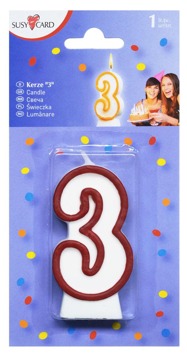 Susy Card Свеча-цифра для торта 3 года цвет красный -  Свечи для торта