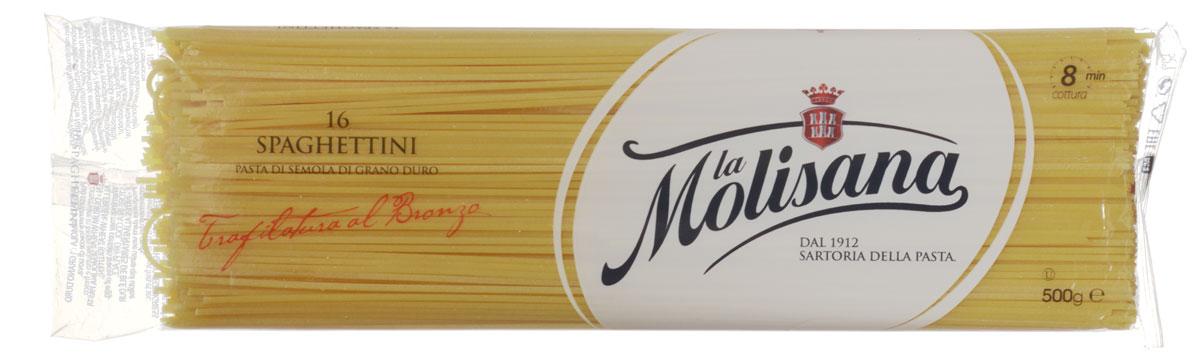 La Molisana Spaghettini тонкие спагетти макаронные изделия, 500 г0190001Тонкие спагетти La Molisana Spaghettini высшего сорта изготовлены из муки твердых сортов, содержащей чуть меньшее количество клейковины, чем обыкновенная мука. Она хорошо поглощает воду, макароны из нее при варке увеличиваются и не развариваются. Эти макароны прекрасно подойдут для блюд с соусом болоньезе или для любого другого исполнения по вашему вкусу.Лайфхаки по варке круп и пасты. Статья OZON Гид