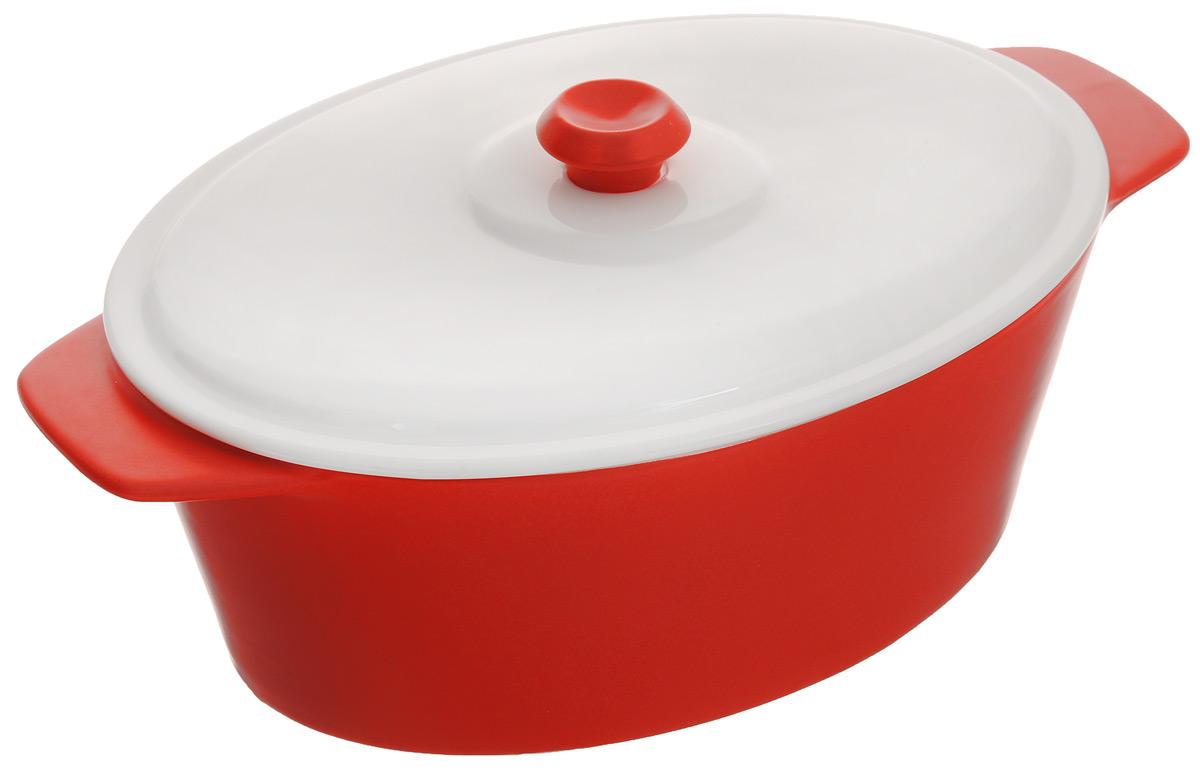 Кастрюля BartonSteel с крышкой, цвет: красный, 2 л кастрюли bekker кастрюля