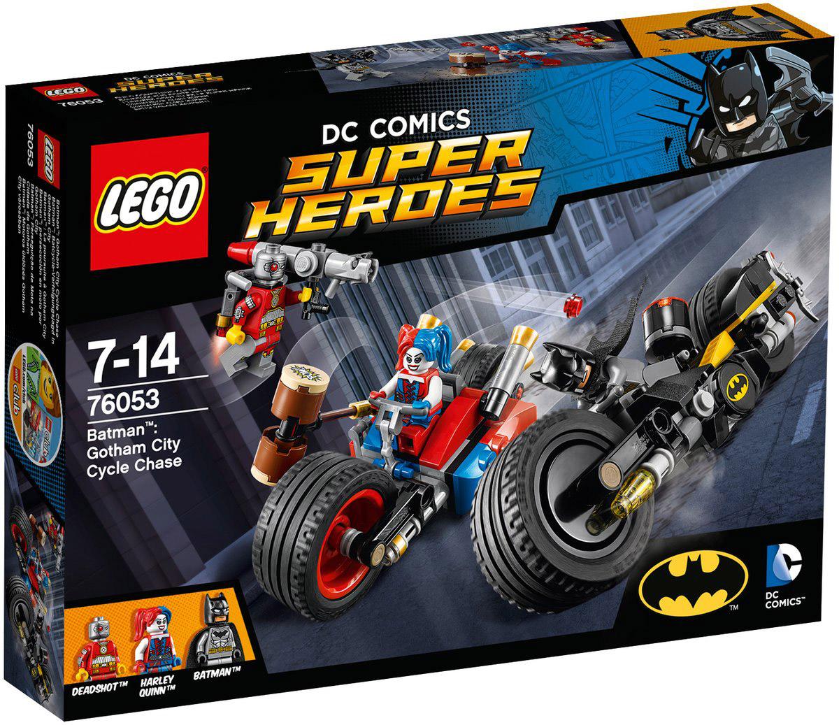 LEGO Super Heroes Конструктор Бэтмен Погоня на мотоциклах по Готэм-сити 76053 полет на реактивном ранце с компанией flyboard moscow скидка до 41