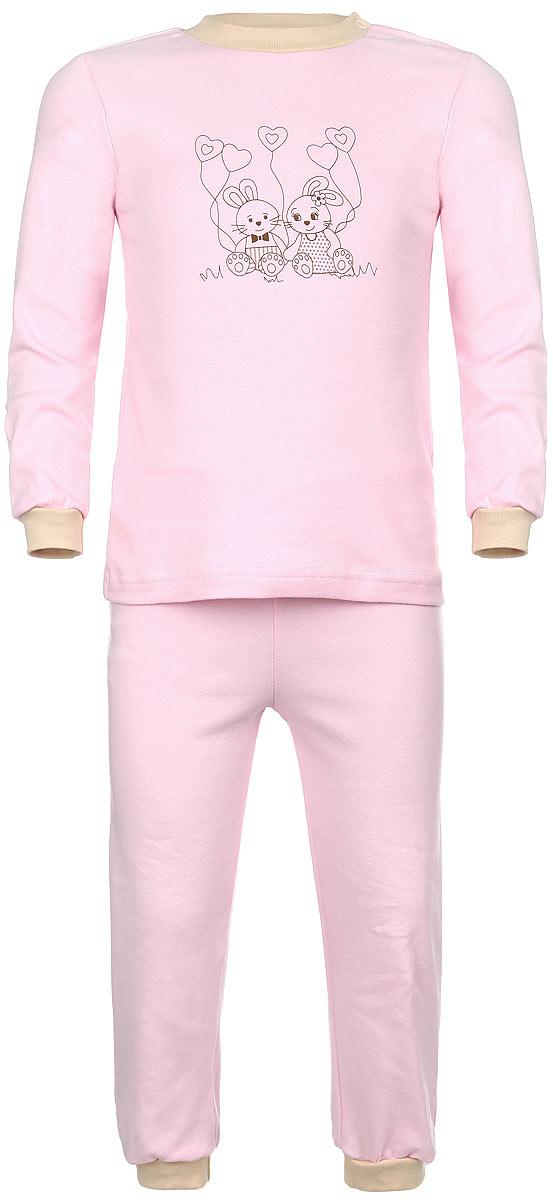 Пижама детская КотМарКот, цвет: розовый. 3289. Размер 98, 3 года3289Детская пижама КотМарКот, состоящая из футболки с длинным рукавом и брюк, идеально подойдет вашему ребенку и станет отличным дополнением к его гардеробу. Выполненная из натурального хлопка, она необычайно мягкая и легкая, не сковывает движения, позволяет коже дышать и не раздражает даже самую нежную и чувствительную кожу ребенка. Футболка с длинными рукавами и круглым вырезом горловины имеет застежки-кнопки по плечевому шву, что помогает с легкостью переодеть ребенка. Вырез горловины и манжеты на рукавах дополнены трикотажными эластичными резинками. Модель оформлена принтом с изображением очаровательных зайчат.Брюки прямого кроя на талии имеют эластичную резинку, благодаря чему они не сдавливают животик ребенка и не сползают. Низ брючин дополнен широкими трикотажными манжетами. В такой пижаме ваш ребенок будет чувствовать себя комфортно и уютно во время сна.