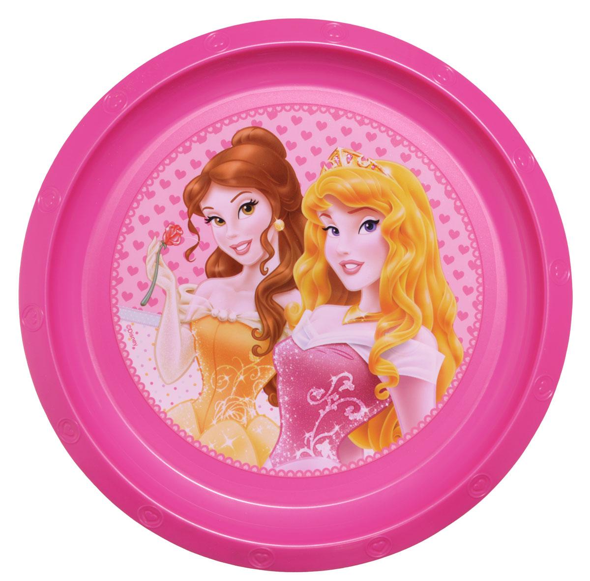 """Яркая тарелка Disney """"Принцессы"""" идеально подойдет для кормления малыша и самостоятельного приема им пищи. Тарелка выполнена из безопасного полипропилена, дно оформлено высококачественным изображением принцесс из диснеевских сказок. Такой подарок станет не только приятным, но и практичным сувениром, добавит ярких эмоций вашему ребенку!  Не предназначено для использования в СВЧ-печи и посудомоечной машине."""