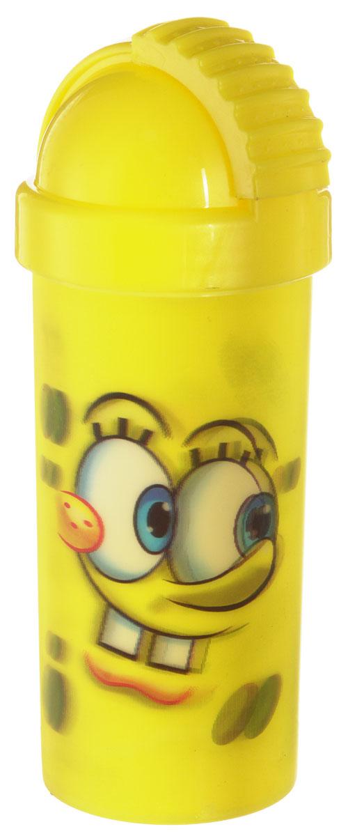 Губка Боб Фляга 3D с крышкой и трубочкой цвет желтый 400 мл