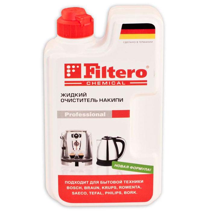 Filtero жидкий очистель накипи, 250 мл605Универсальный очиститель накипи Filtero подходит для использования во всех типах приборов с нагревательными элементами, таких как чайники, термопоты, кофеварки, утюги, пароварки, бойлеры. А так же для всех типов кофеварок и кофемашин. Можно использовать для продукции фирм AEG, Bosch, DeLonghi, Jura, Krups, Rowenta, Tefal, Philips, Saeco. Благодаря жидкой форме быстро и максимально эффективно удаляет накипь, не причиняя вреда бытовой технике.Состав: амидо серная кислота, лимонная кислота