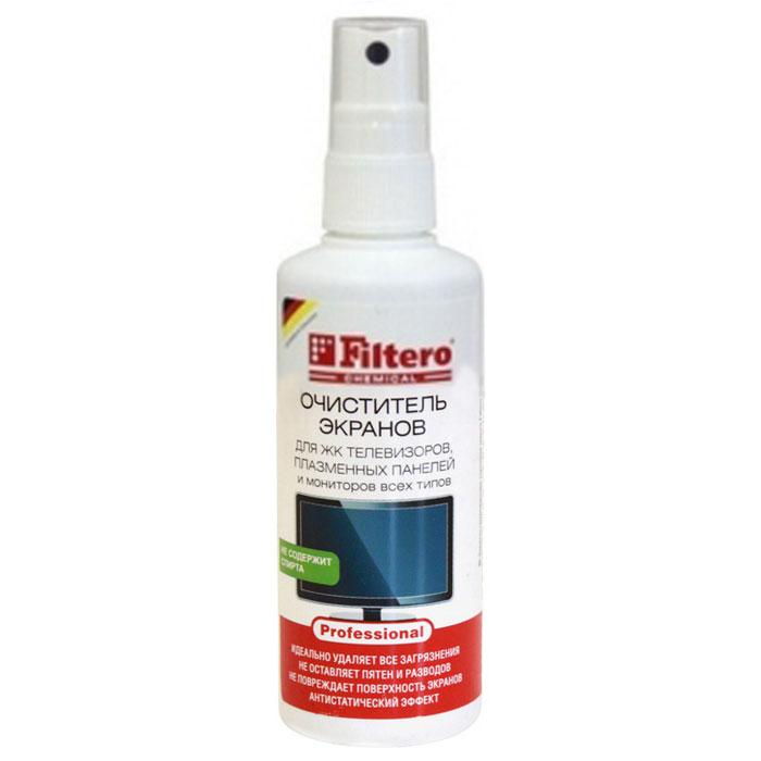 Filtero спрей-очиститель для экранов, 125 мл101Очиститель экранов Filtero не содержит спирта и специально разработан для очистки экранов TFT / LCD, плазменных панелей, экранов ноутбуков и КПК, плоских экранов и любых стеклянных поверхностей с покрытиями, либо без. Быстро и бережно очищает поверхность. Без спирта, не оставляет разводов, не наносит вреда экранам, линзам и защитным пленкам экранов мобильных телефонов.Каждый пользователь современной техники сталкивался с необходимостью ее протирать и очищать. И каждый, кто использовал специальные составы, знает, как важно, чтобы средство не наносило вред и не имело запаха. Для того, чтобы очистить, не нанести вред экрану и себе, вы можете использовать специальный очиститель экранов Filtero.