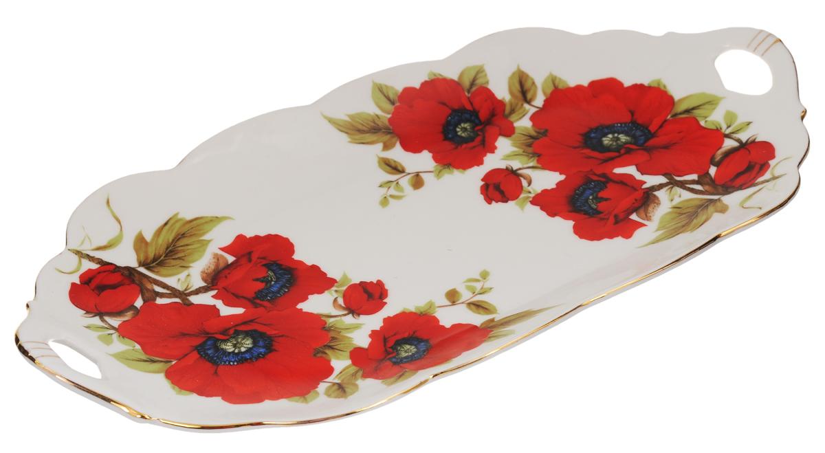 Блюдо для нарезки Elan Gallery Маки, 30 х 15 см740162Блюдо для нарезки Elan Gallery Маки, изготовленное из керамики, прекрасно подойдет для подачи нарезок, закусок и других блюд. Блюдо дополнено двумя удобными ручками и оформлено цветочным рисунком. Такое блюдо украсит сервировку вашего стола и подчеркнет прекрасный вкус хозяйки. Не рекомендуется применять абразивные моющие средства. Не использовать в микроволновой печи.Размер блюда по верхнему краю (с учетом ручек): 30 х 15 см.