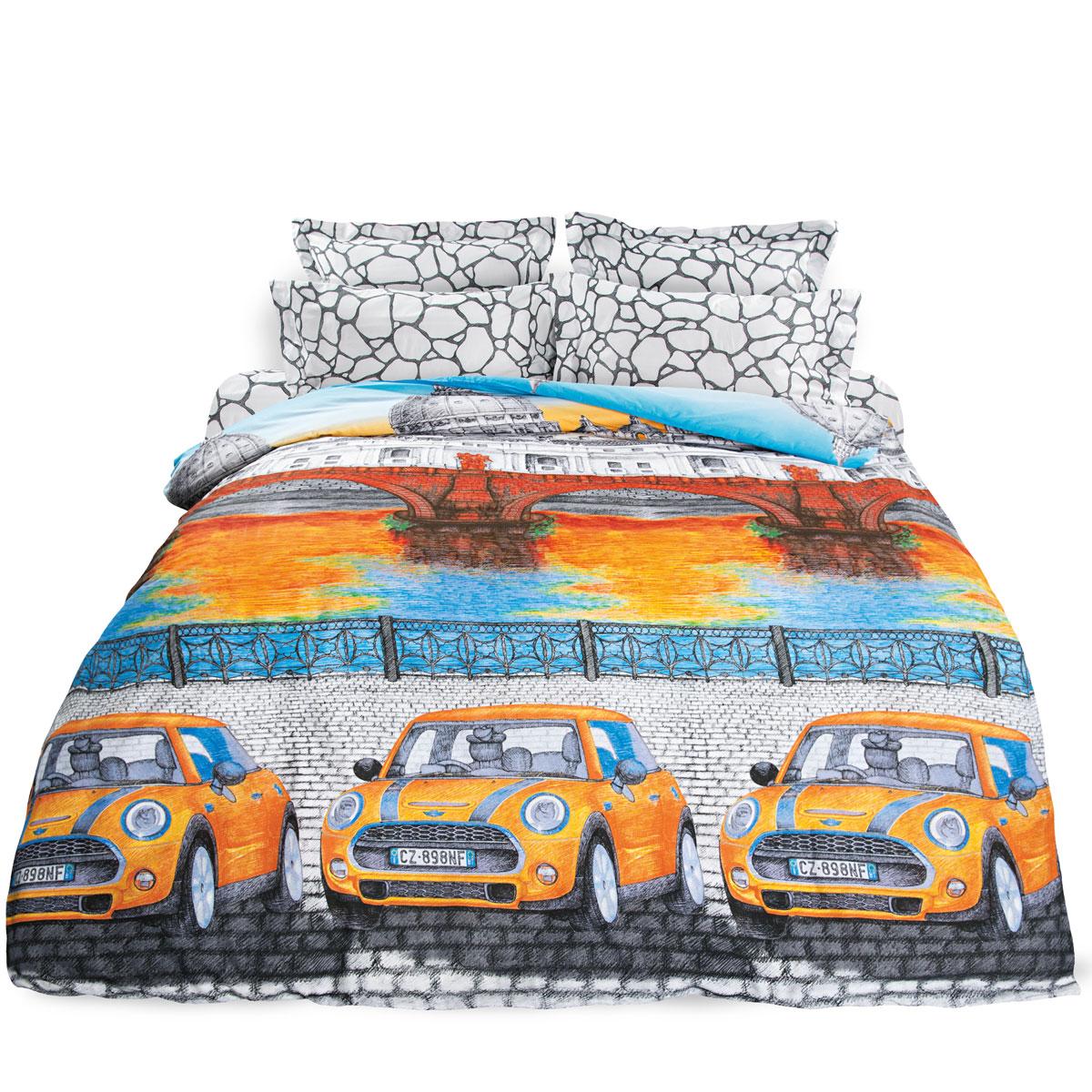 Комплект белья Унисон Итальянская серенада, семейный, наволочки 70 х 70, цвет: оранжевый. 276902 комплекты белья linse комплект белья пижама