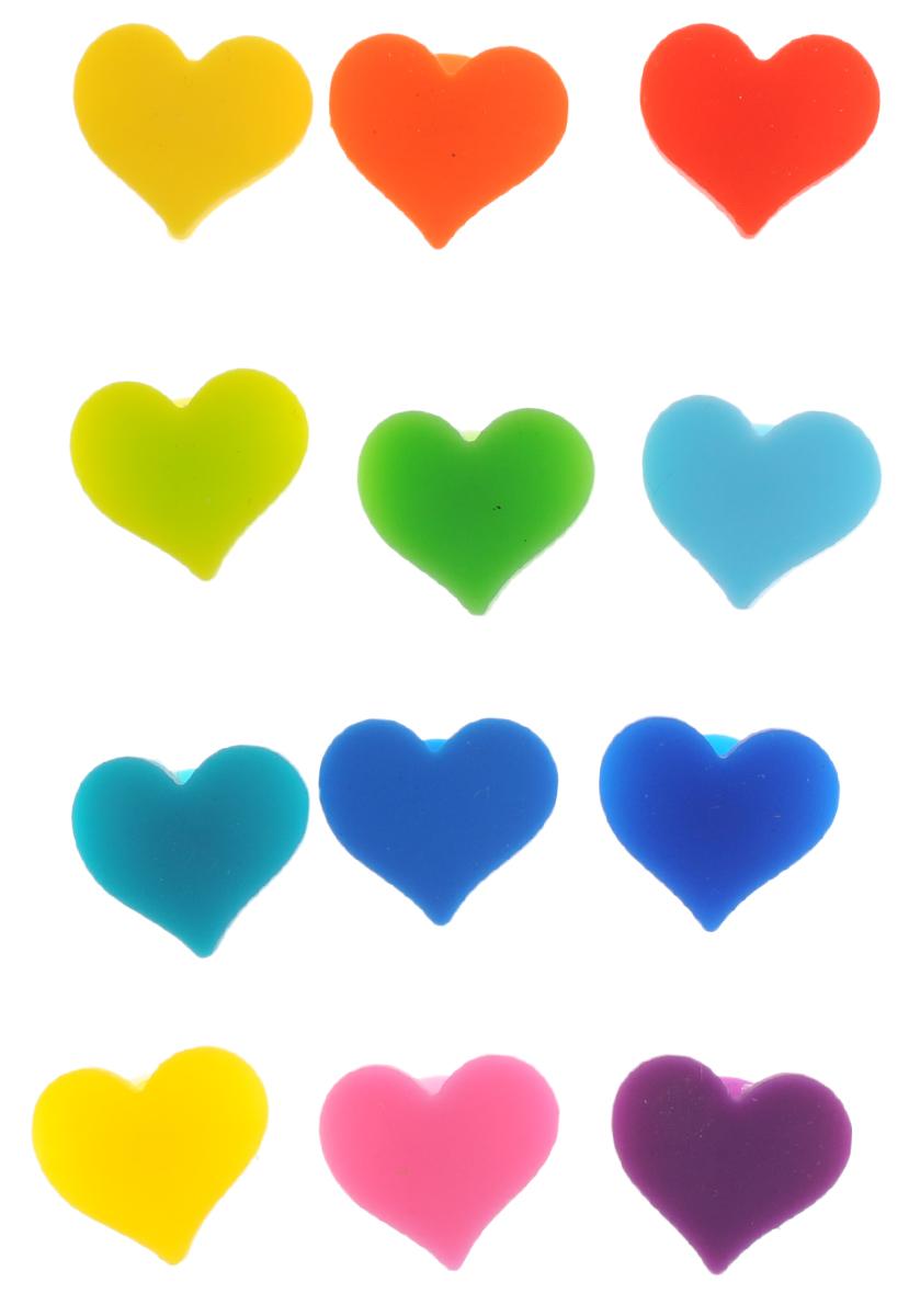 """Яркие маркеры Elan Gallery """"Сердечки"""",  изготовленные из силикона, используются  для обозначения стаканов, бокалов, фужеров  и многого другого. Изделия крепятся с помощью  мини-присосок к любой гладкой поверхности.  Такие маркеры идеально подойдут для вечеринки.  Вы никогда не перепутаете свой бокал от такого же,  принадлежащему другому гостю.  Маркеры Elan Gallery """"Сердечки"""" - приятный аксессуар  для настроения!    Не использовать для мытья абразивные  материалы и жесткие щетки.  Избегать контакта с открытым огнем.   Перед первым использованием вымыть  в теплой воде с моющим средством.   Размер маркера: 2,4 х 2 х 0,7 см.  Комплектация: 12 шт."""