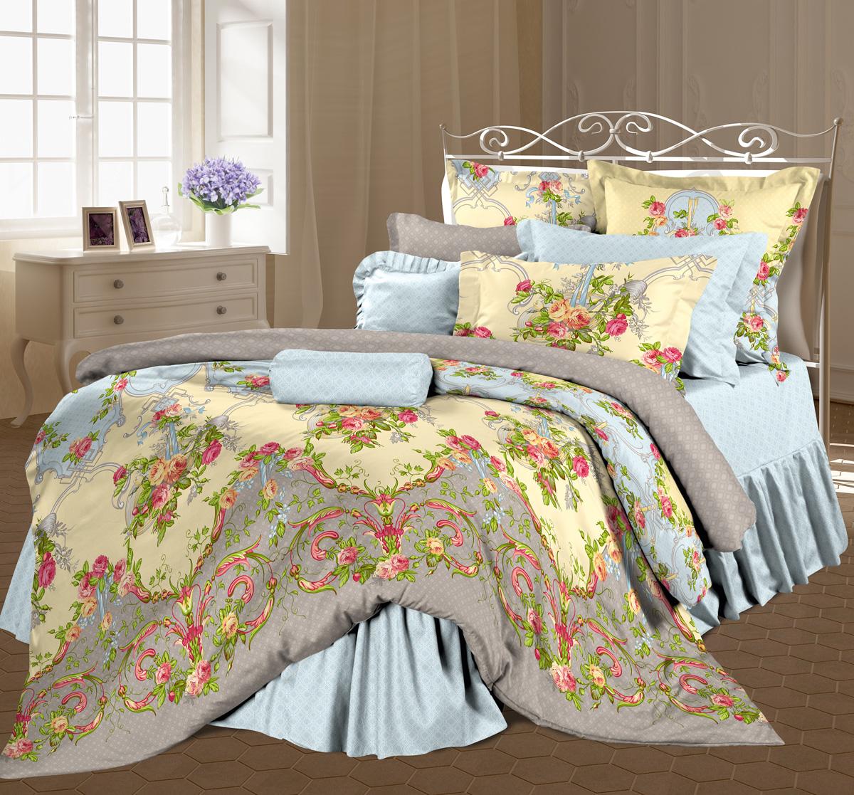 """Роскошный комплект постельного белья Романтика """"Антуанетта""""   выполнен из ткани   Lux Перкаль, произведенной из натурального 100% хлопка. Ткань   приятная на ощупь,   при этом она прочная, хорошо сохраняет форму и легко гладится.   Комплект состоит   из пододеяльника, простыни и двух наволочек, оформленных   цветочным принтом и   узорам. Благодаря такому комплекту постельного белья вы создадите   неповторимую и   романтическую атмосферу в вашей спальне.    Советы по выбору постельного белья от блогера Ирины Соковых. Статья OZON Гид"""