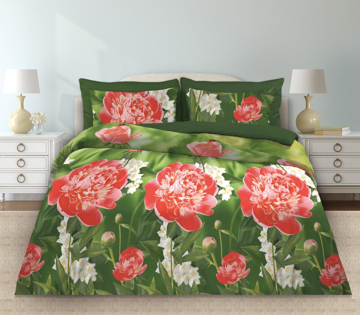 Комплект белья Любимый дом Пионы, 1,5-спальный, наволочки 70х70331088Комплект постельного белья коллекции Любимый дом выполнен из высококачественной ткани - из 100% хлопка. Такое белье абсолютно натуральное, гипоаллергенное, соответствует строжайшим экологическим нормам безопасности, комфортное, дышащее, не нарушает естественные процессы терморегуляции, прочное, не линяет, не деформируется и не теряет своих красок даже после многочисленных стирок, а также отличается хорошей износостойкостью.