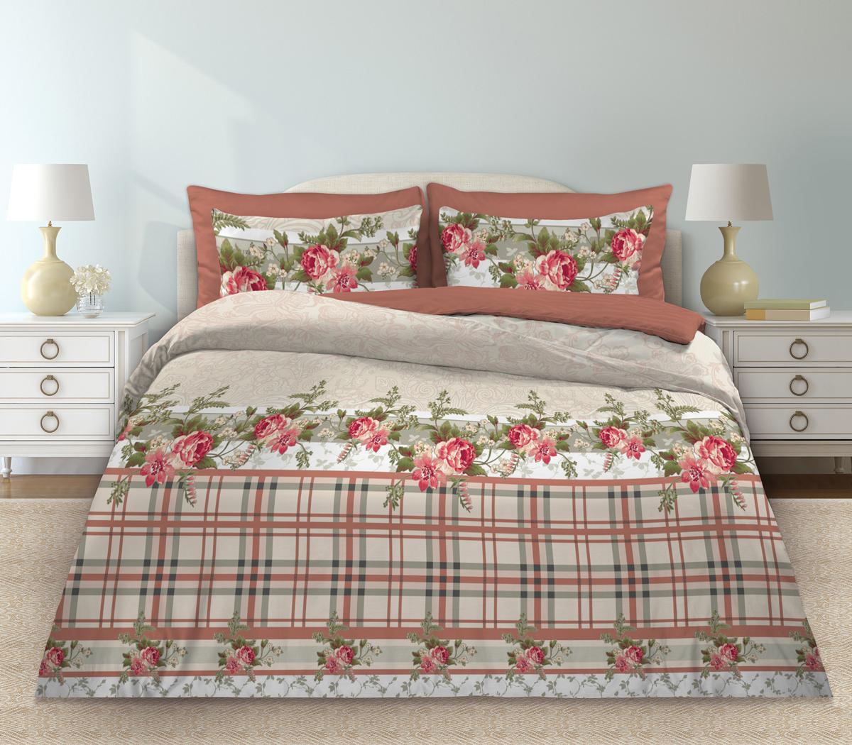 Комплект белья Любимый дом Моника, 1,5 спальное, наволочки 70 х 70, цвет: бежевый. 331095 любимый дом н70х70 моника