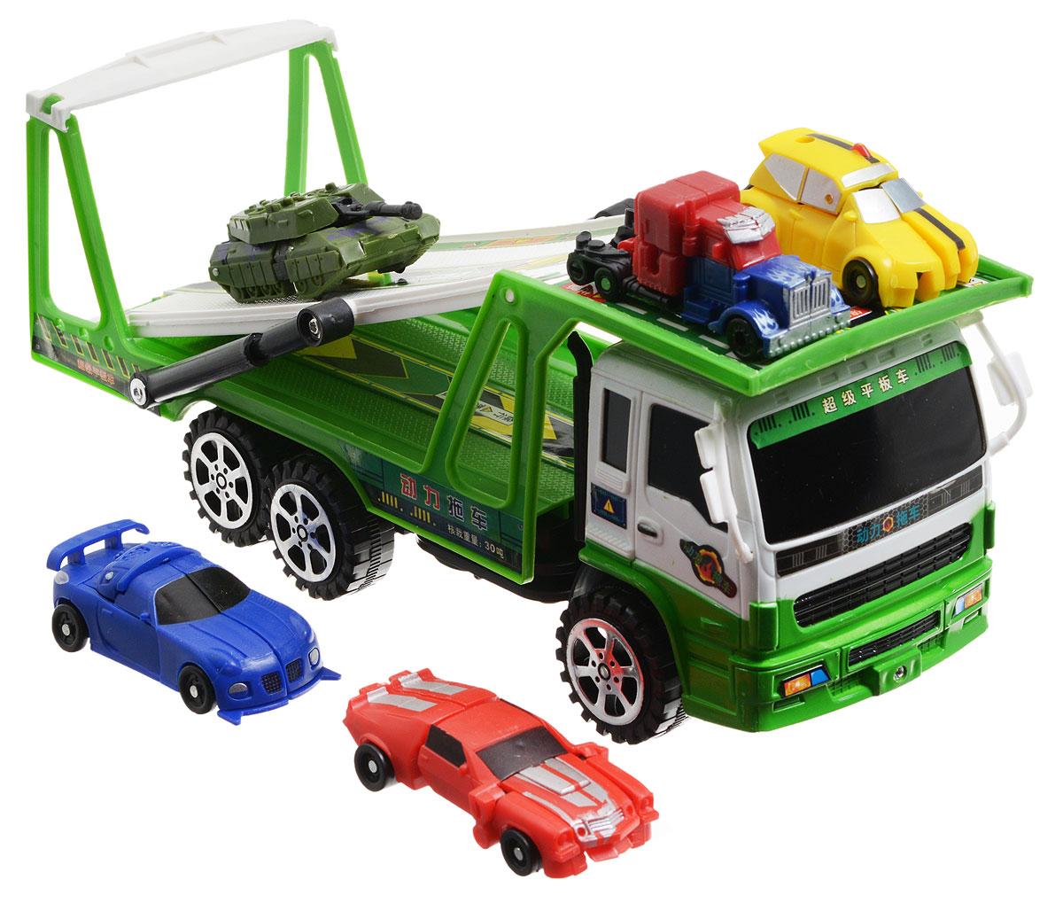 Junfa Toys Игровой набор Автовоз и 5 машинок-трансформеров цвет автовоза зеленый junfa toys автовоз инерционный с погрузчиком excellent transport car