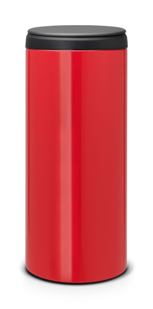 Бак мусорный Brabantia FlipBin, цвет: красный, 30 л. 106903106903Прост в обращении – открывается одним кончиком пальца. При открывании крышка не задевает стену. Удобная очистка – съемное пластиковое ведро с ручками. Всегда опрятный вид – идеально подходящие по размеру мешки PerfectFit (размер G). Предохранение пола от повреждений – пластиковый защитный обод.