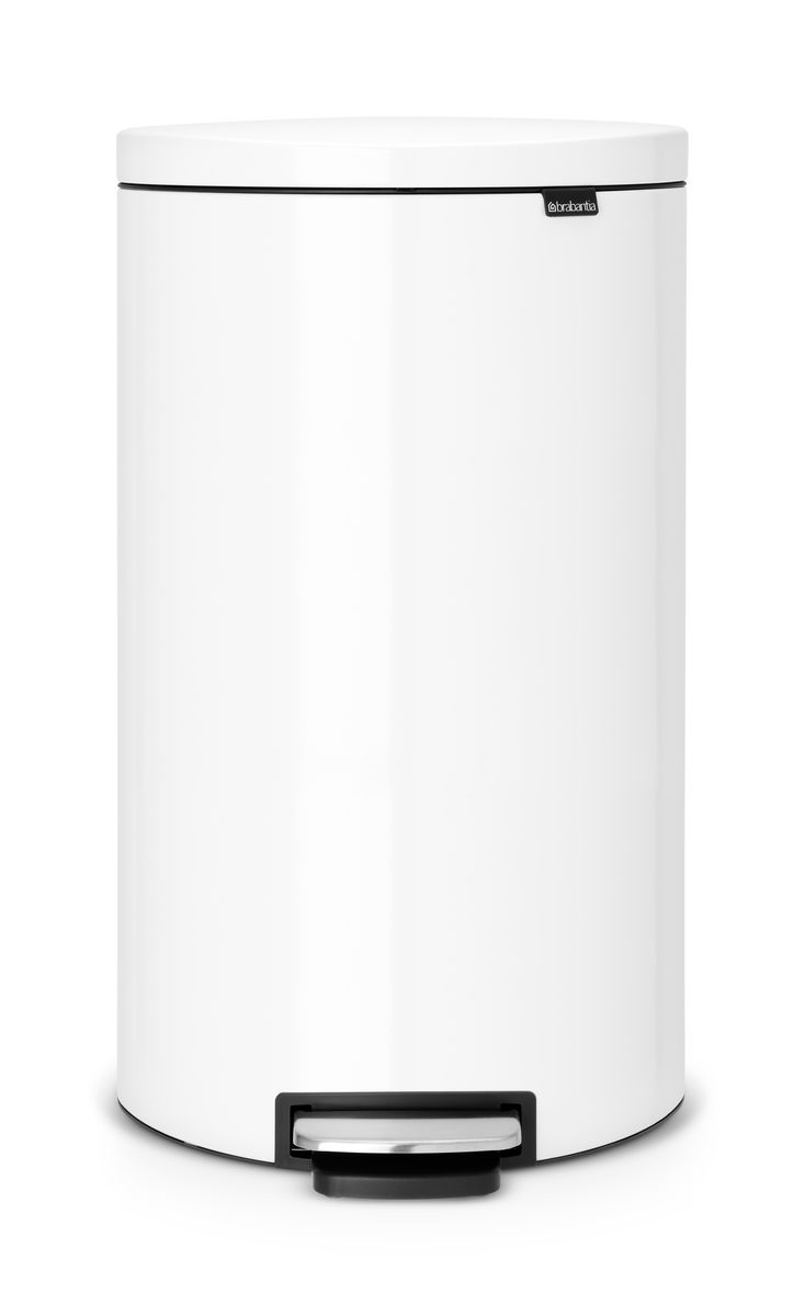 Бак мусорный Brabantia FlatBack+, с педалью, цвет: белый FPP, 30 л. 485206 brabantia мусорный бак flipbin 30 л белый