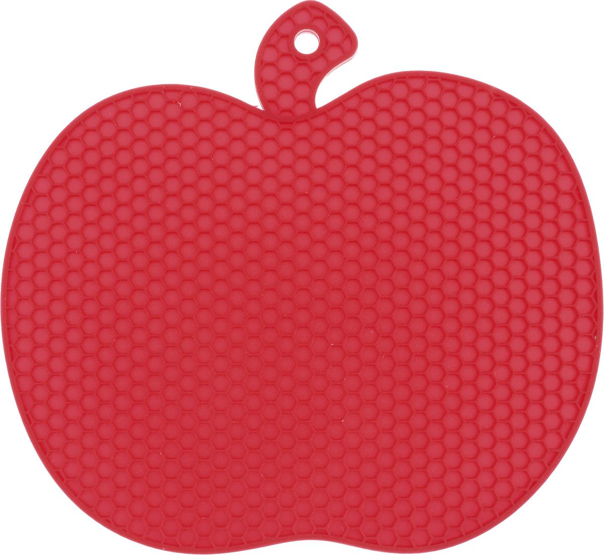 Подставка под горячее Marmiton Яблоко, силиконовая, цвет: красный, 19 х 18 см12134Подставка под горячее Marmiton Яблоко изготовлена из силикона, что позволяет ей выдерживать высокие температуры и не царапать поверхность стола. Силикон устойчив к фруктовым кислотам, обладает естественным антипригарным свойством.Такая подставка придется по вкусу человеку, ценящему практичные и оригинальные вещи. Можно мыть в посудомоечной машине.