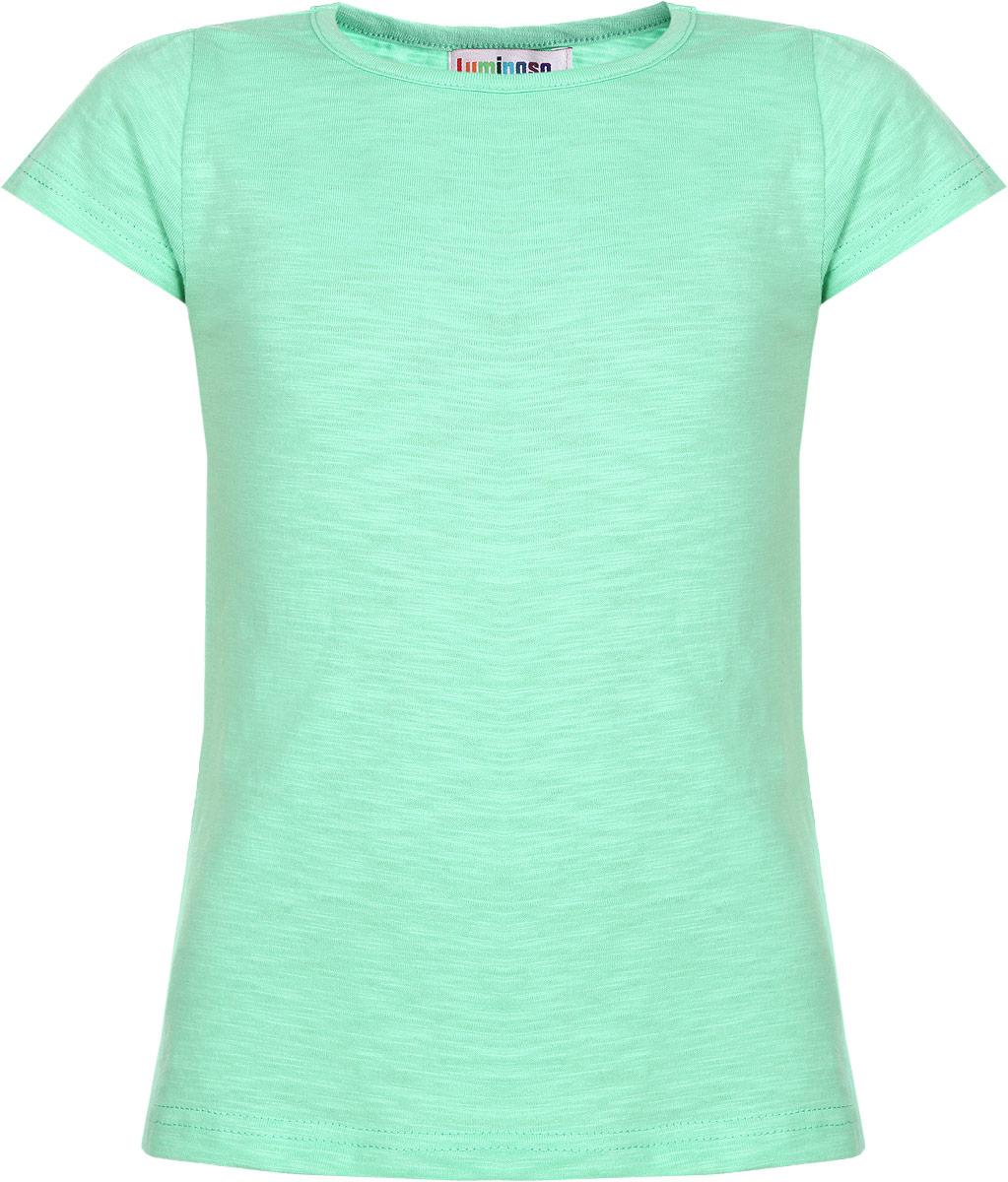 Футболка для девочки Luminoso, цвет: светло-зеленый. 195857. Размер 146, 11 лет195857Очаровательная футболка для девочки Luminoso идеально подойдет вашей доченьке. Изготовленная из натурального хлопка, она необычайно мягкая и приятная на ощупь, не сковывает движения и позволяет коже дышать, не раздражает даже самую нежную и чувствительную кожу ребенка, обеспечивая ему наибольший комфорт. Футболка с короткими рукавами и круглым вырезом горловины выполнена трапециевидным кроем. Рукава по линии плеча дополнены сборкой.Оригинальный современный дизайн и расцветка делают эту футболку модным и стильным предметом детского гардероба. В ней ваша юная модница будет чувствовать себя уютно и комфортно и всегда будет в центре внимания!