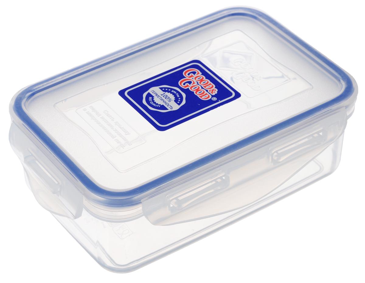 Контейнер Good&Good, цвет: прозрачный, синий, 0,8 л2-2Пищевой контейнер Good&Good изготовлен из высококачественного пищевого пластика, который выдерживает температуру от -24°С до +125°С. Контейнер безопасен для здоровья, не содержит BPA. Контейнер имеет прямоугольную форму и оснащен плотно закрывающейся крышкой. Продукт подходит для контакта с пищевыми продуктами.Можно мыть в посудомоечной машине.Размер контейнера (с учетом крышки): 16 х 11 х 7 см.
