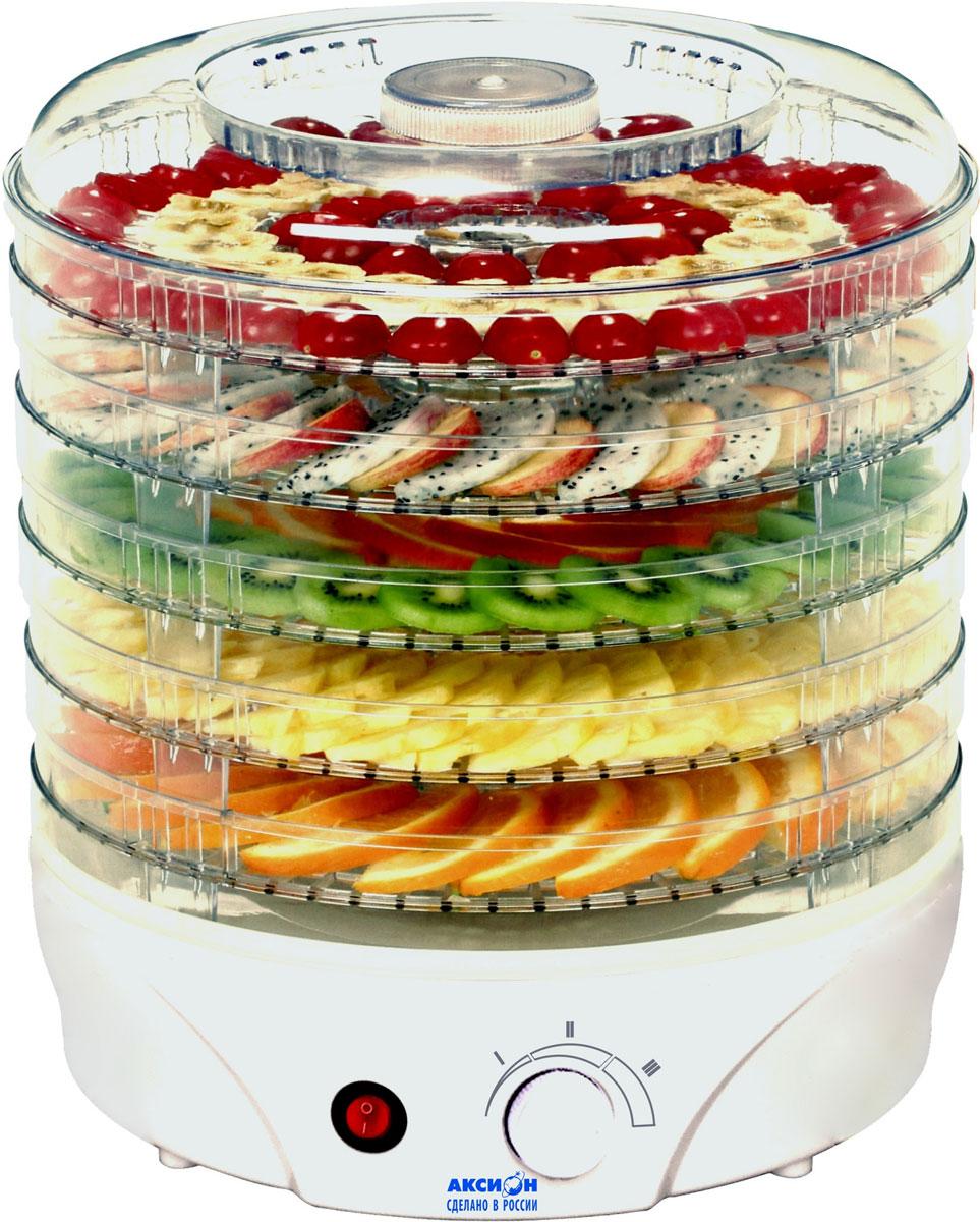 Аксион Т33, White сушилка для овощейАксион Т33Сушилка для овощей и фруктов Аксион Т-33 - отличное решение для заготовок овощей и фруктов. Благодаря 5съемным регулируемым по высоте прозрачным секциям вы с легкостью сможете сушить одновременно не толькофрукты или овощи, но и ягоды, травы, грибы. Используя регулировку температуры, вы без труда сможетеподобрать наиболее оптимальный вариант для сушки. Мощный электродвигатель с вентилятором помогутсохранить питательные вещества и обеспечат равномерное обезвоживание ингредиентов.Управление: механическое Материал корпуса: пластик Регулировка высоты поддона