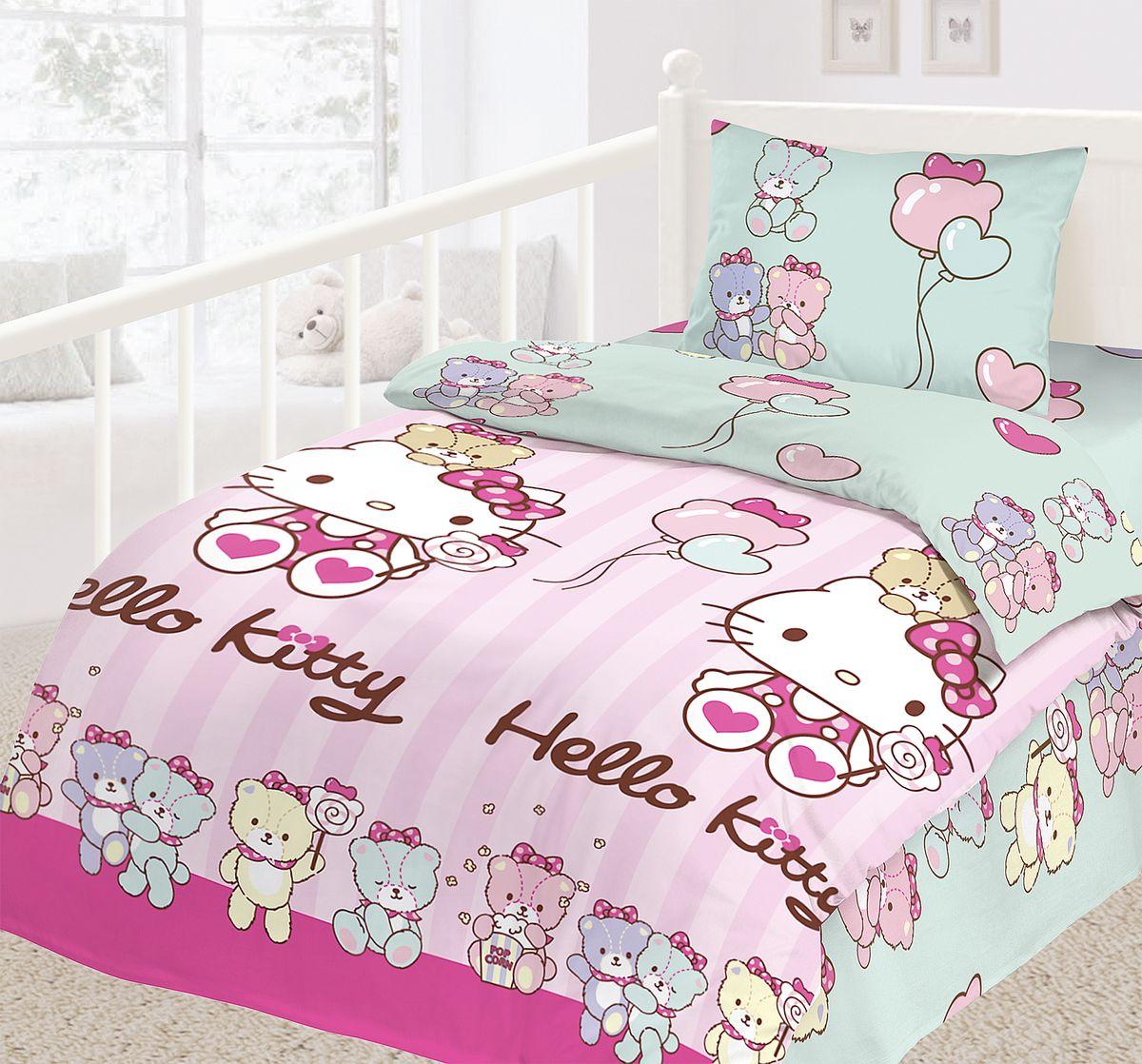 Комплект детского постельного белья Hello Kitty, цвет: розовый, голубой, 3 предмета180089Детский комплект постельного белья Hello Kitty состоит из наволочки, пододеяльника и простыни. Такой комплект идеально подойдет для кровати вашего ребенка и обеспечит ему здоровый сон. Он изготовлен из ранфорса (100% хлопок), дарящего малышу непревзойденную мягкость. Натуральный материал не раздражает даже самую нежную и чувствительную кожу ребенка, обеспечивая ему наибольший комфорт. Приятный рисунок комплекта подарит вашему ребенку встречу с любимыми героями полюбившегося мультфильма и порадует яркостью и красочностью дизайна.Советы по выбору постельного белья от блогера Ирины Соковых. Статья OZON Гид