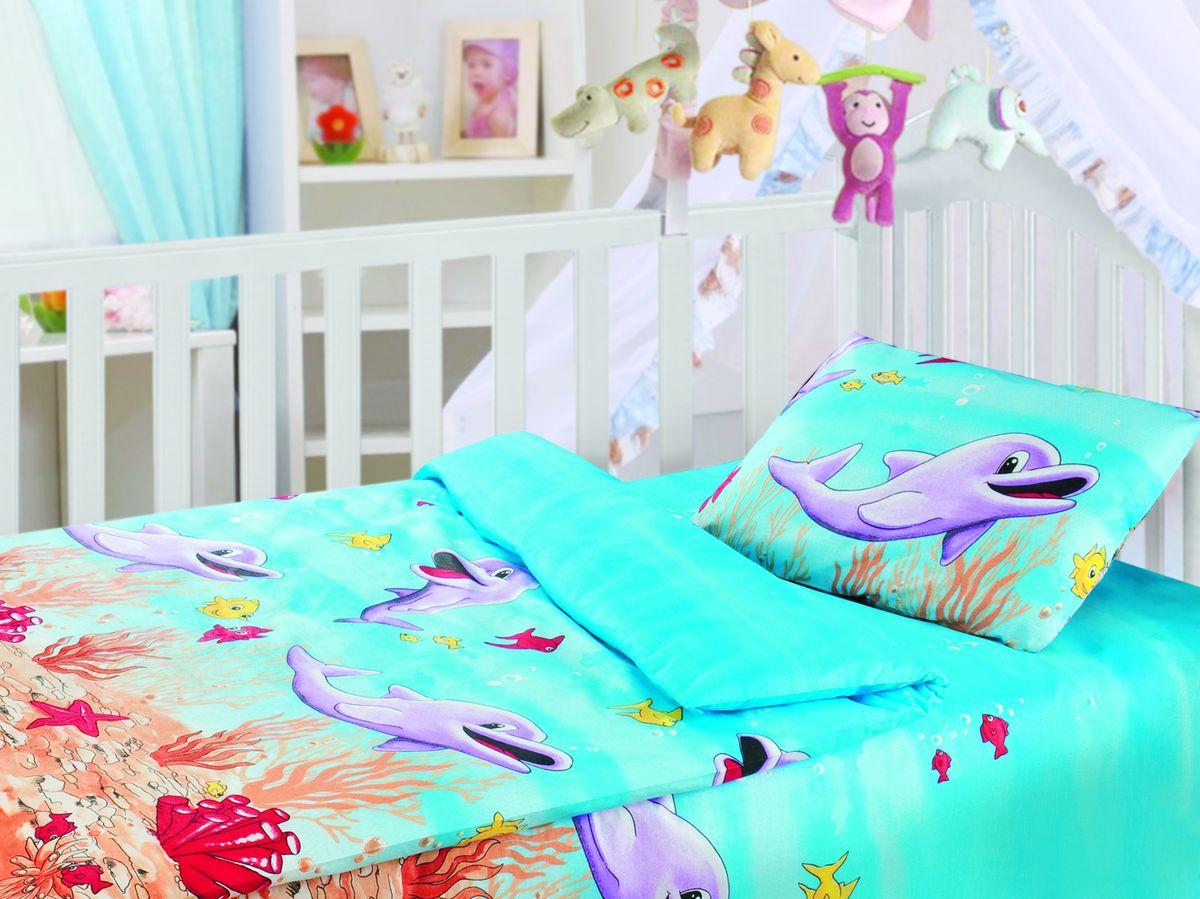 Комплект детского постельного белья Облачко Дельфины, цвет: голубой, сиреневый, красный, 3 предмета переводки дельфины