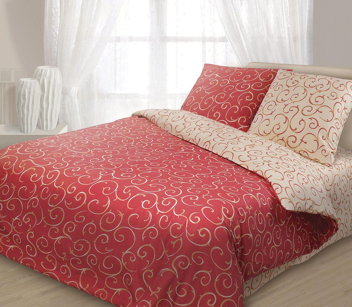 Комплект белья Гармония Барокко, 1,5-спальный, наволочки 50x70, цвет: красный, бежевый190813Комплект постельного белья Гармония Барокко является экологически безопасным, так как выполнен из поплина (100% хлопок). Комплект состоит из пододеяльника, простыни и двух наволочек. Постельное белье оформлено оригинальным орнаментом и имеет изысканный внешний вид. Поплин мягкий и приятный на ощупь. Кроме того, эта ткань не требует особого ухода, легко стирается и прекрасно держит форму. Высококачественные красители, которые используются при производстве постельного белья, экологичны и сохраняют свой цвет даже после многочисленных стирок.