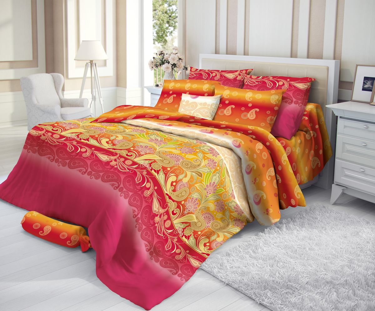 """Комплект белья """"Verossa"""", 2-спальный, наволочки 50х70, цвет: красный, желтый"""