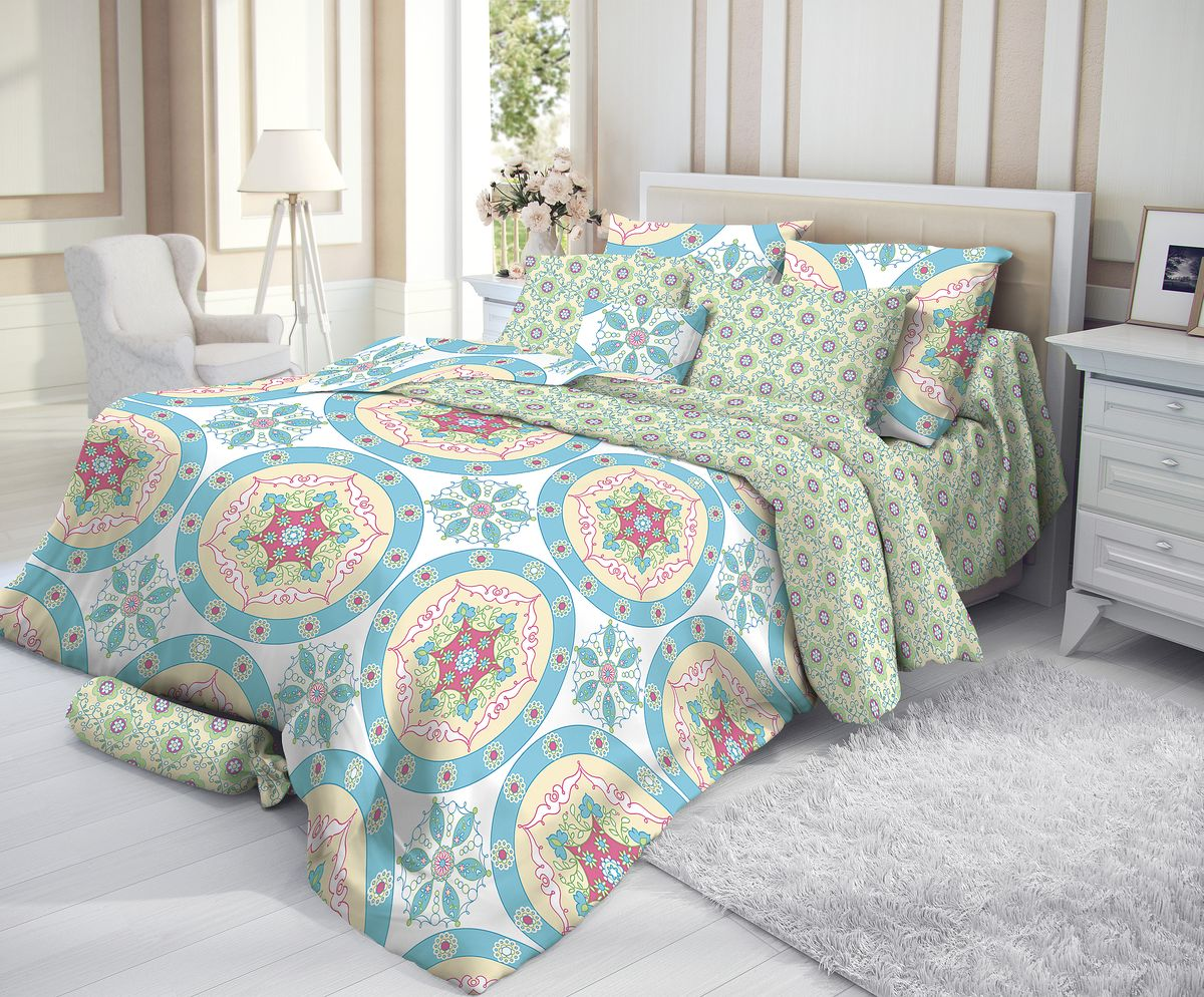 """Комплект белья """"Verossa"""", 2-спальный, наволочки 50х70, цвет: голубой"""