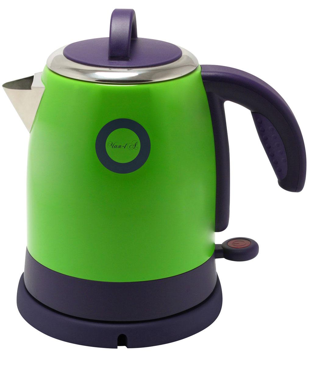 Великие Реки Чая-1А, Green электрический чайникЧая-1АВеликие Реки Чая-1А - стильный и недорогой электрический чайник в корпусе из нержавеющей стали. Модель снабжена широкой горловиной, съемной крышкой и эргономичной ручкой. Имеется также шкала уровня воды, индикатор работы и возможность вращения чайника на 360 градусов. Безопасность в использовании обеспечивает встроенная защита от перегрева.