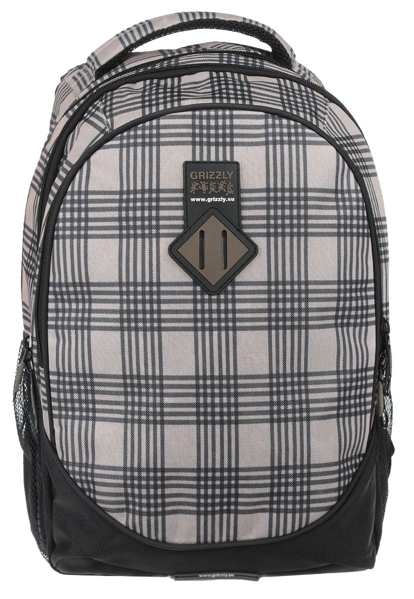 Рюкзак городской Grizzly, цвет: бежевый, черный, 25 л. RU-500-1/4U-500-1/4_бежевый,черныйСтильный рюкзак Grizzly выполнен из полиэстера, оформлен оригинальным принтом и символикой бренда.Рюкзак содержит три вместительных отделения, каждое из которых закрывается на молнию. Внутри рюкзака расположены два кармана: накладной карман на резинке и нашитый карман на застежке-молнии. Рюкзак оснащен встроенным органайзером, который включает в себя сетчатый карман на застежке-молнии, кармашек для телефона и фиксатор для ручки. Снаружи, по бокам изделия, расположены два сетчатых кармана. Рюкзак оснащен ортопедический спинкой, петлей для подвешивания, двумя практичными лямками регулируемой длины.Практичный рюкзак станет незаменимым аксессуаром и вместит в себя все необходимое.