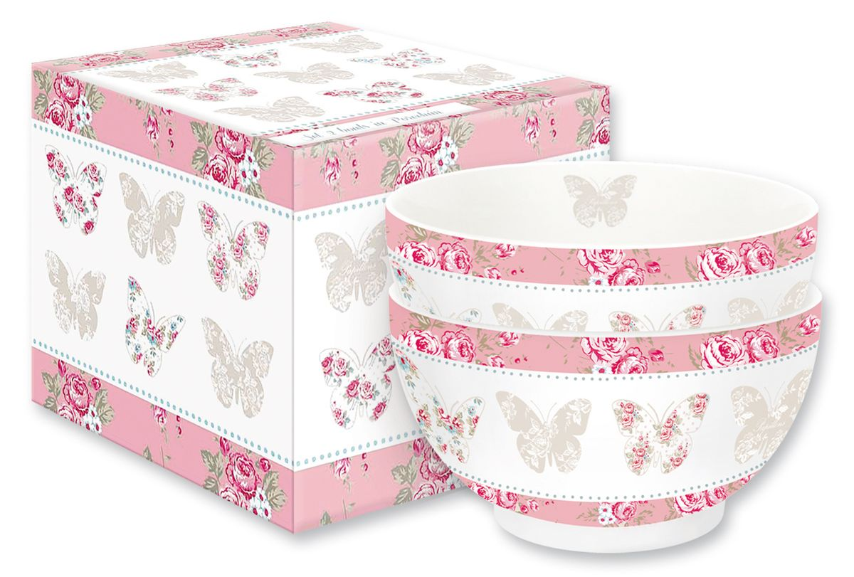 Набор мисок Nuova R2S Розовые бабочки, фарфор, 13 см, 2 шт212MAPI