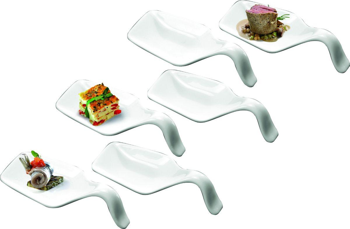 """Набор """"Deagourmet"""" состоит из 6 ложек специальной  формы, предназначенных для подачи и дегустации  закусок, снэков, паштетов, десертов. Изделия выполнены из высококачественного фарфора.  Подавать закуски на таких мисочках очень красиво - ваши  гости попробуют все вкусности, не испачкав пальцы.   Можно мыть в посудомоечной машине и использовать в  микроволновой печи.  Размер одной ложки: 11 х 4,5 х 3 см."""