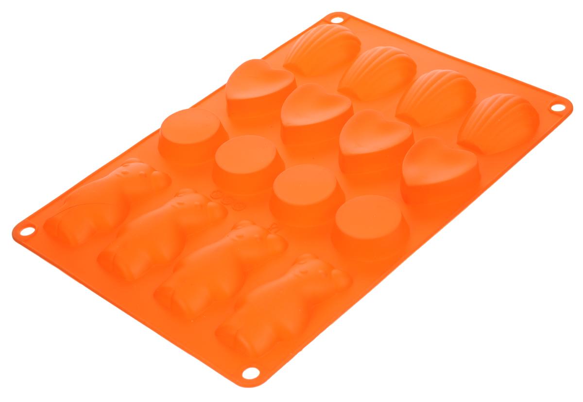 Форма для выпечки Taller, цвет: оранжевый, 16 ячеекTR-6213_оранжевыйФорма для выпечки Taller изготовлена из высококачественного силикона. Изделия из силикона очень удобны в использовании: пища в них не пригорает и не прилипает к стенкам, форма легко моется. Приготовленное блюдо можно очень просто вытащить, просто перевернув форму, при этом внешний вид блюда не нарушится. Изделие обладает эластичными свойствами: складывается без изломов, восстанавливает свою первоначальную форму. Форма содержит 16 разных ячеек. Порадуйте своих родных и близких любимой выпечкой в необычном исполнении. Подходит для приготовления в микроволновой печи и духовом шкафу при нагревании до +220°С, для замораживания до -20°С. Можно мыть в посудомоечной машине. Размер формы: 30 х 18,5 см.Средний размер ячейки: 7,5 х 4 см.Высота стенок: 1,5 см.Количество ячеек: 16 шт.