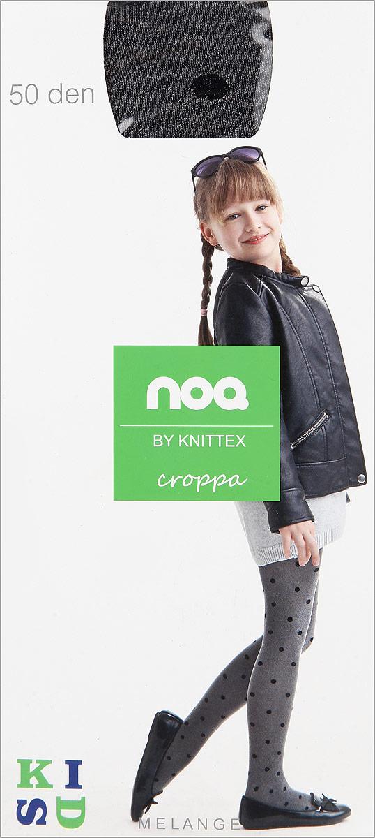Колготки для девочки Knittex Croppa, цвет: темно-серый меланж, черный. Размер 116/122, 6-7 лет