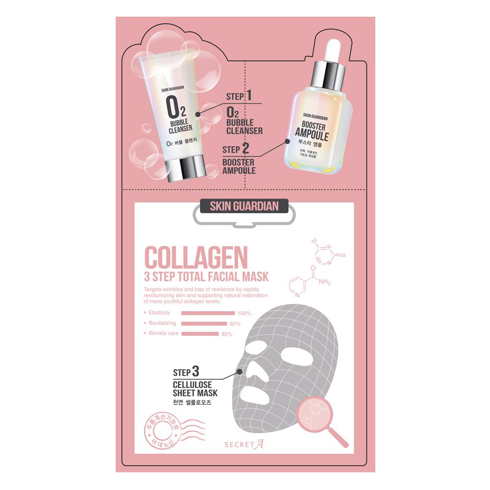 Secret A Трехшаговая коллагеновая маска для лица, Skin Guardian, 25 мл8809270622613Маскасалфетка из целлюлозы плотно прилегает к коже, что обеспечивает более интенсивное воздействие на кожу лица. Маска из натурального материала минимизирует риск возникновения аллергических реакций и в 13 раз увеличивает впитываемость эссенции.
