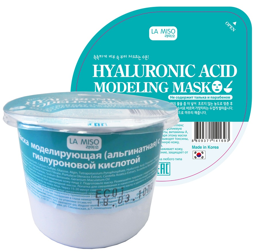 La Miso Маска альгинатная с гиалуроновой кислотой, 21 г8809371141693Альгинатные маски La Miso содержат целый комплекс полезных элементов: альгиновую кислоту, фолиевую кислоту, протеины, минеральные элементы, витамины A, B1, B6, B12, C, D, E полисахариды. Благодаря этому маски La Miso улучшают обменные процессы, выводят токсины, успокаивают покрасневшую и раздраженную кожу, увлажняют, оказывают эффект лифтинга. Маска с гиалуроновой кислотой разглаживает кожу, обеспечивает интенсивное увлажнение, защищает от потери упругости. Тип кожи: обезвоженная кожа любого типа