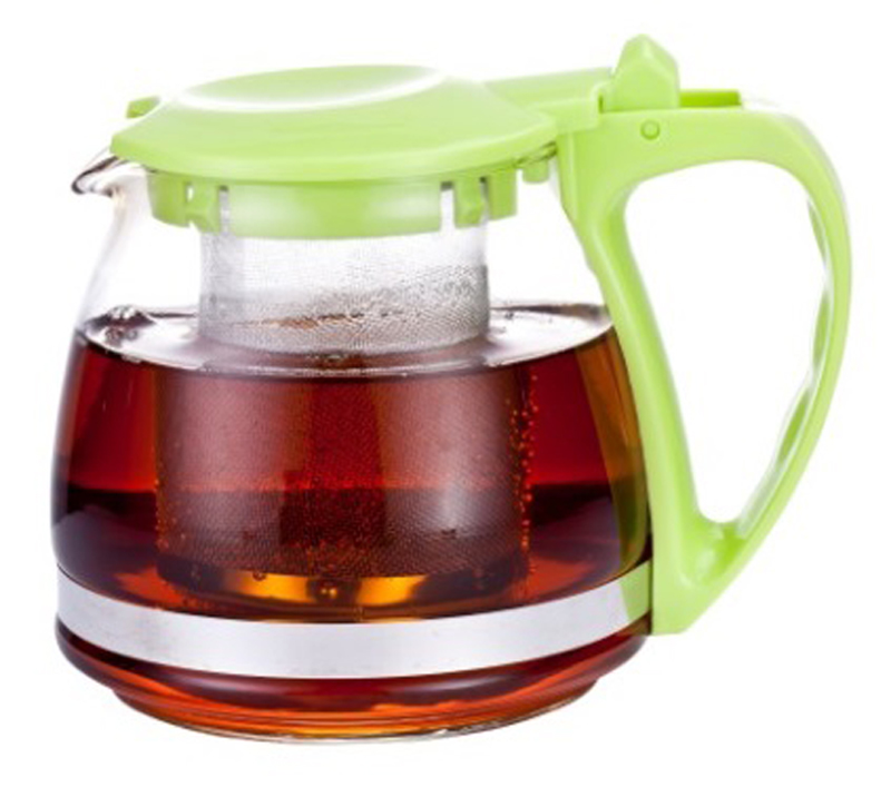 Чайник заварочный МФК-профит, с фильтром, цвет: зеленый, 700 мл8070-1Заварочный чайник МФК-профит предоставит вам все необходимые возможности для успешного заваривания чая. Он изготовлен из термостойкого стекла и оснащен крышкой и ручкой из пластика, также имеется вставка из нержавеющей стали. Чай в таком чайнике дольше остается горячим, а полезные и ароматические вещества полностью сохраняются в напитке. Чайник оснащен фильтром, который выполнен из нержавеющей стали. Простой и удобный чайник поможет вам приготовить крепкий, ароматный чай. Нельзя мыть в посудомоечной машине. Не использовать в микроволновой печи.