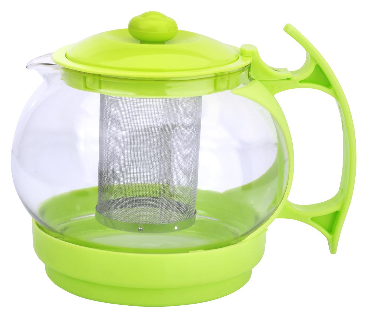 Чайник заварочный МФК-профит, с фильтром, цвет: зеленый, 1,1 л827Заварочный чайник МФК-профит предоставит вам все необходимые возможности для успешного заваривания чая. Он изготовлен из термостойкого стекла и оснащен крышкой и ручкой из пластика, также имеется вставка из нержавеющей стали. Чай в таком чайнике дольше остается горячим, а полезные и ароматические вещества полностью сохраняются в напитке. Чайник оснащен фильтром, который выполнен из нержавеющей стали. Простой и удобный чайник поможет вам приготовить крепкий, ароматный чай. Нельзя мыть в посудомоечной машине. Не использовать в микроволновой печи.