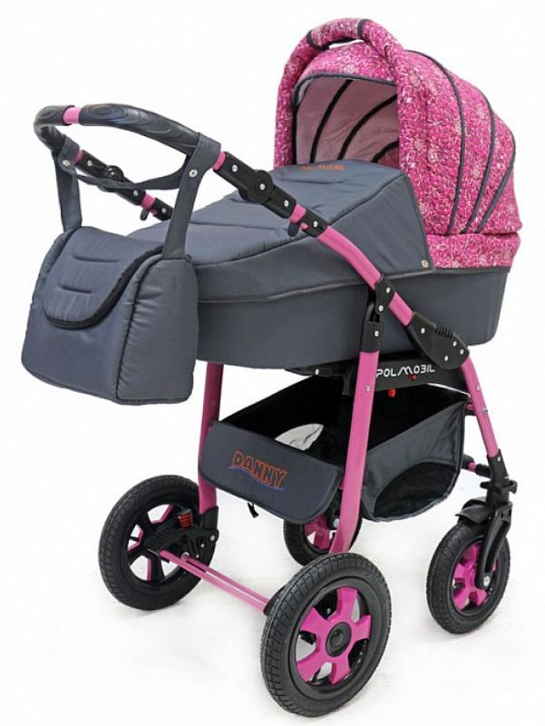 Polmobil Коляска универсальная 2 в 1 Danny цвет графитовый розовый -  Коляски и аксессуары