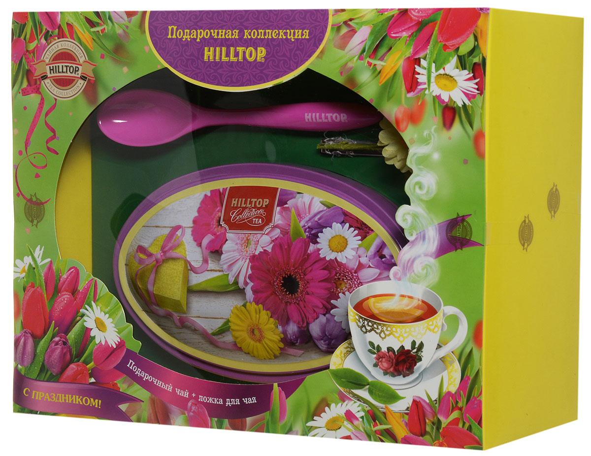 """Фото Hilltop """"Летние цветы. Волшебная луна"""" черный листовой чай, 100 г (подарочный набор с ложечкой для чая)"""