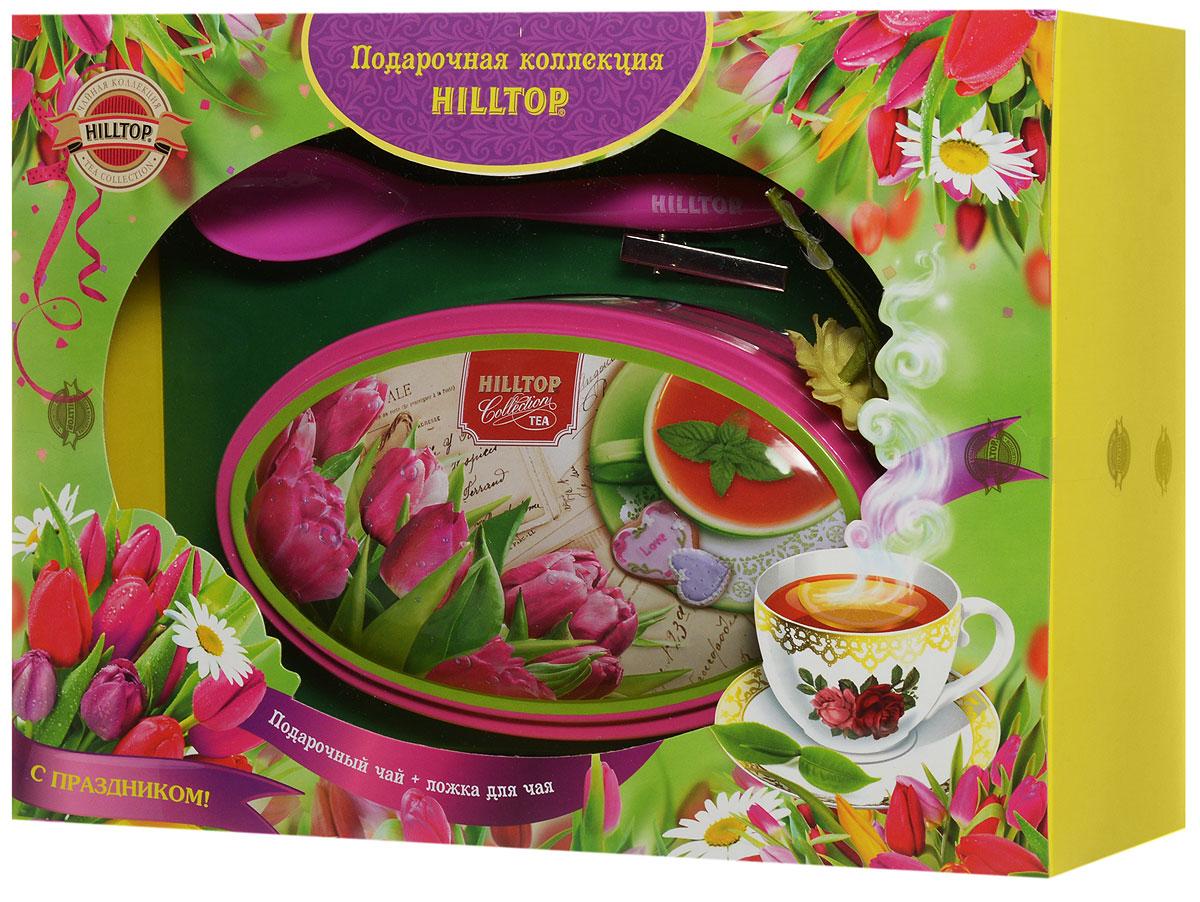 Hilltop Розовые тюльпаны. Цейлонское утро черный листовой чай, 100 г (подарочный набор с ложечкой для чая)