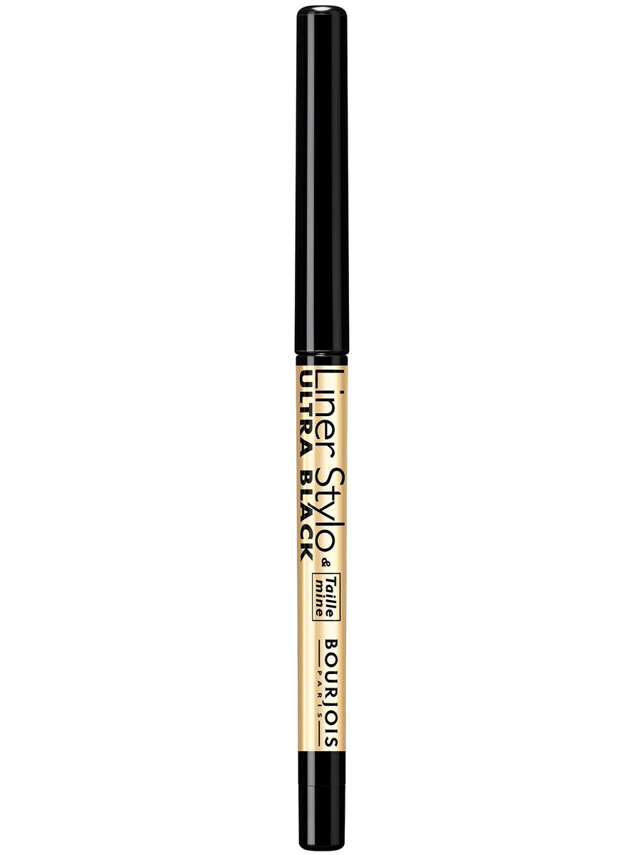 Bourjois контурный карандаш с точилкой для макияжа глаз liner stylo Тон 61 ultra black 1 мл29101503061Liner Stylo сочетает в себе преимущества контурного карандаша и точность жидкой подводки. Летучий силикон обеспечивает отличную стойкость макияжа. Карандаш скользит по веку, рисуя тонкую линию одним движением. Точилка, встроенная в карандаш, позволяет содержать грифель в идеальном состоянии.