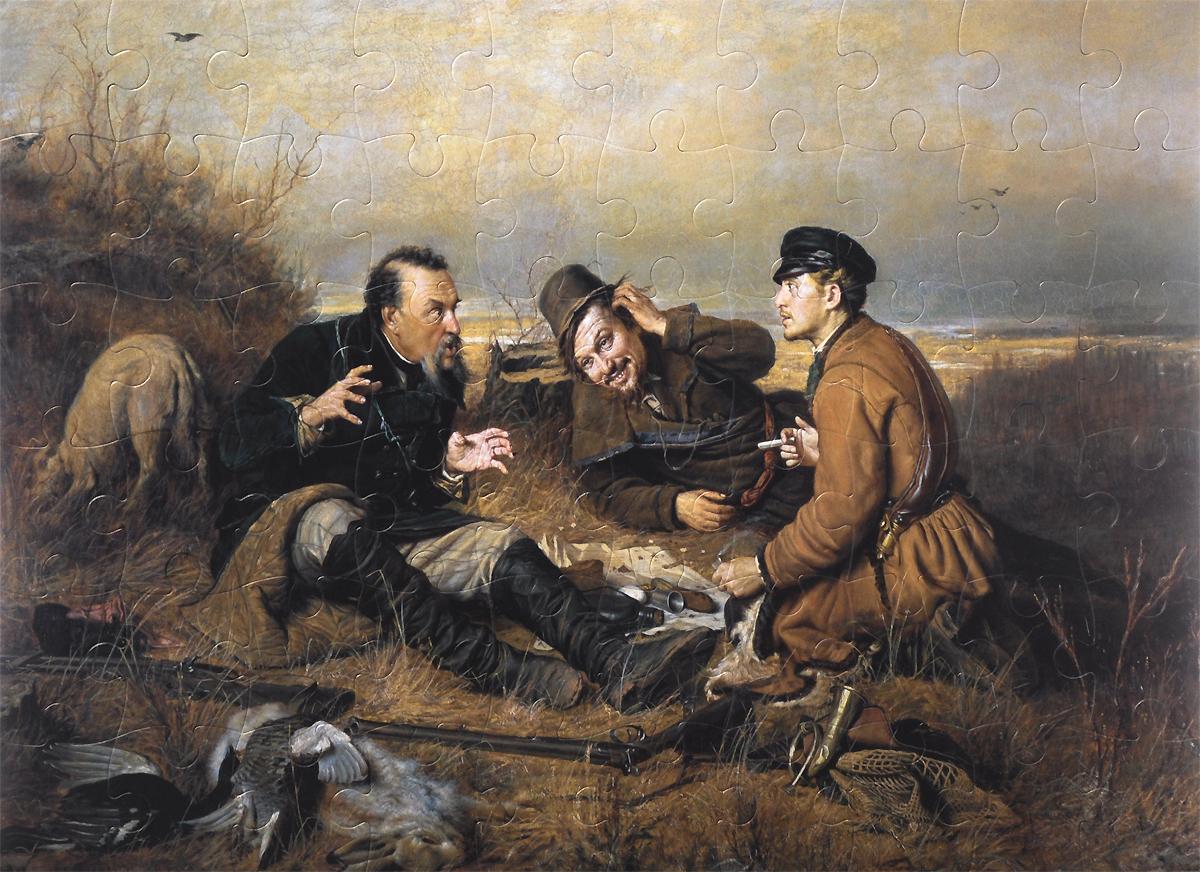 Василий Перов. Охотники на привале. 1871. Пазл, 60 элементов