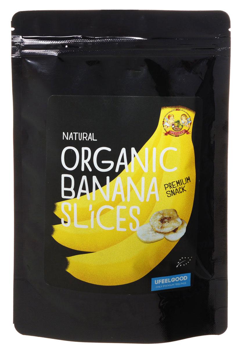 UFEELGOOD Organic Banana Slice органические банановые слайсы, 100 г199Высушенные бананы UFEELGOOD Organic Banana Slice с ароматным вкусом сохранили все полезные качества фрукта.Бананы являются отличным пополнением энергии для организма, особенно после периода активности. Они содержат витамины В6 и С, прекрасный источник калия и пищевых волокон. Во время напряженной физической деятельности, ваш организм теряет большое количество этих витаминов и минералов, а банан поможет восполнить их и продолжать двигаться вперед. Поэтому бегуны и велосипедисты едят бананы после гонки. Бананы содержат более легкоусвояемые углеводы, чем в других фруктах - калории, которые организм легко сжигает.Пектин (растворимые пищевые волокна) в бананах помогает нормализовать работу толстой кишки и поджелудочной железы. Возьмите с собой в дорогу, на работу, угостите друзей! Добавьте удовольствия и восторга с пользой!