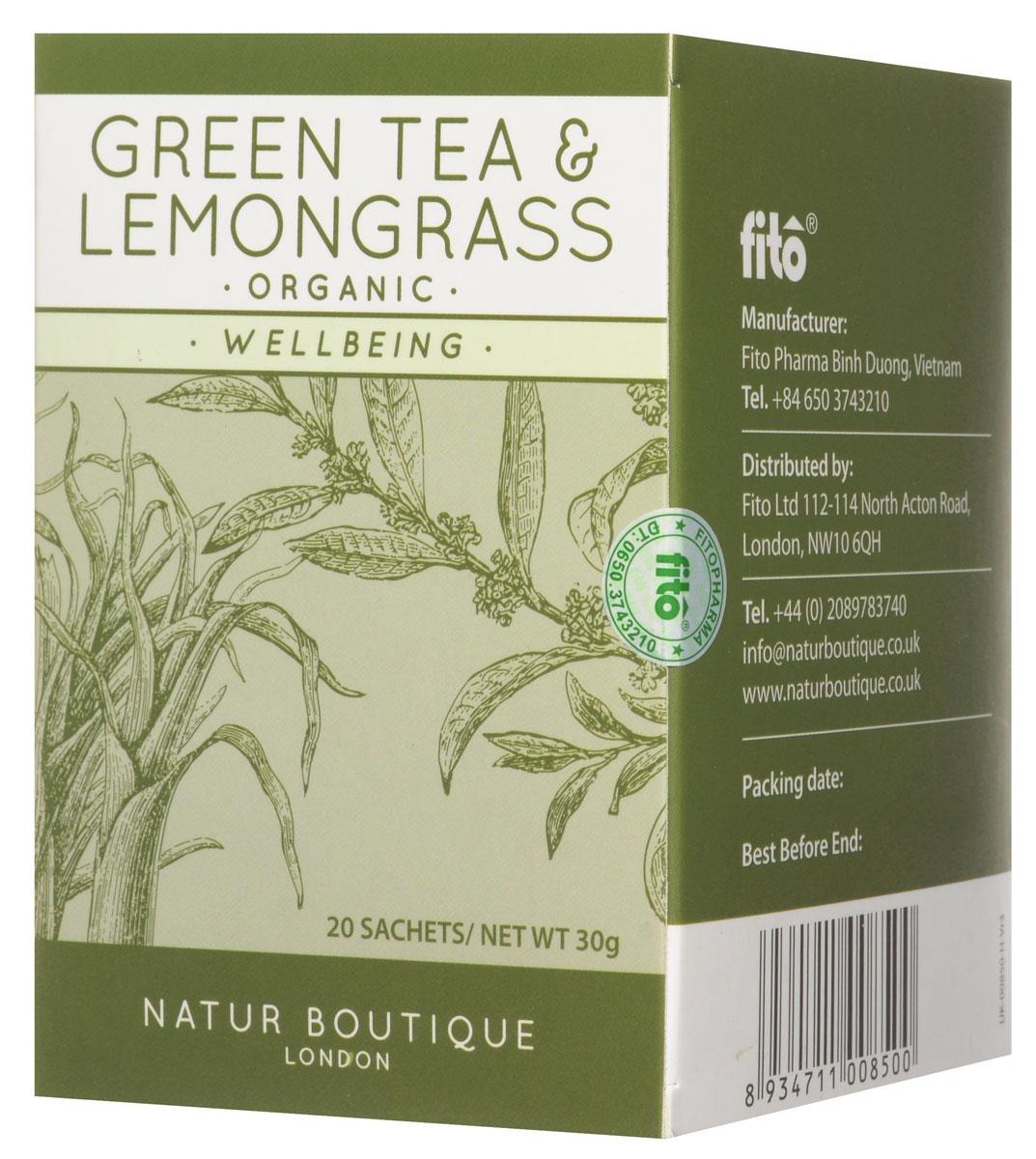 юбка boutique moschino boutique moschino bo036ewovm69 Natur Boutique Lemongrass&Green Tea Organic Tea органический зеленый чай с лемонграссом, 20 пакетиков