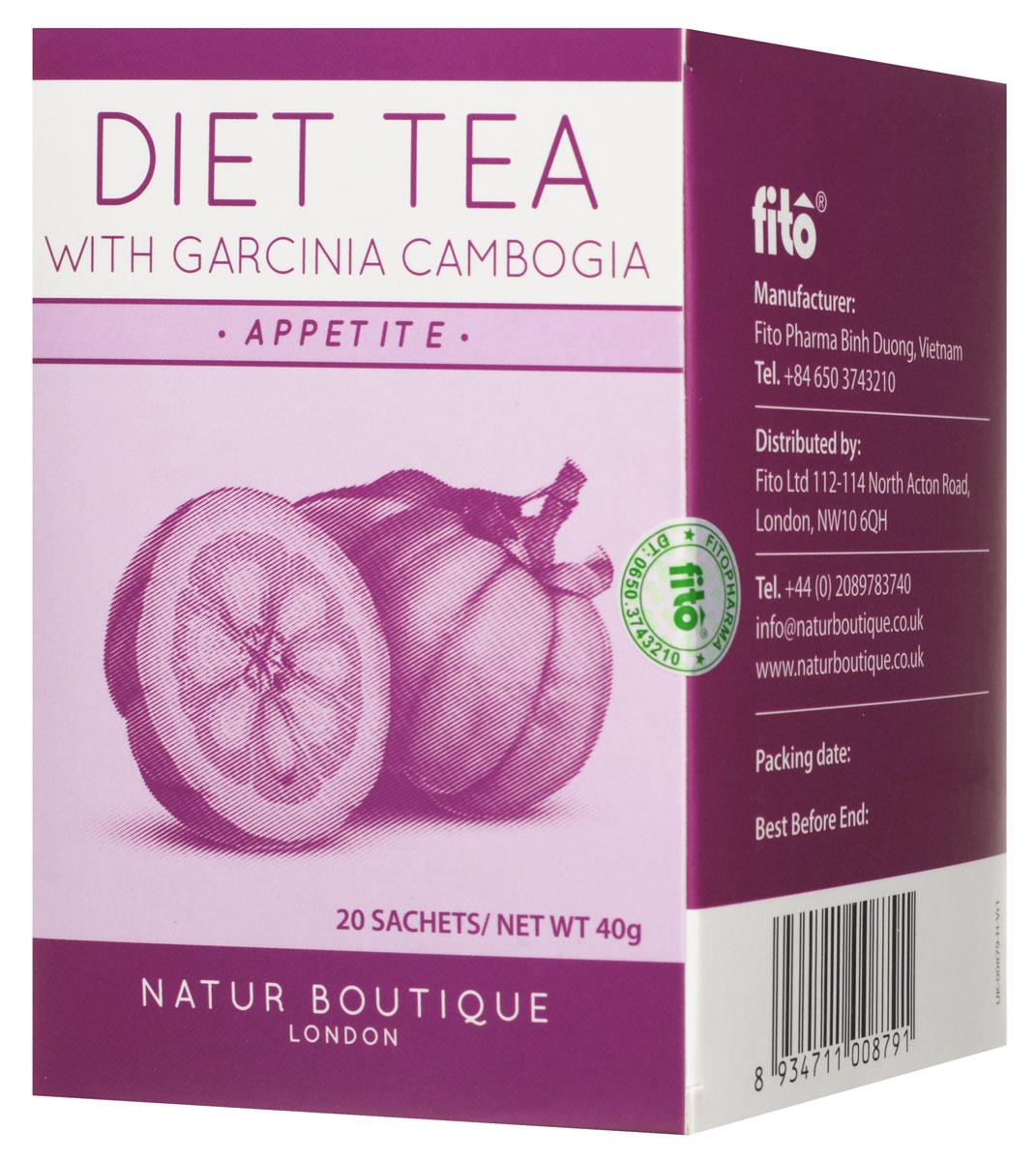 Natur Boutique Diet Tea With Garcinia Cambogia Organic Tea органический зеленый чай с гарцинией камбоджийской, 20 пакетиков257Чай Natur Boutique Diet Tea With Garcinia Cambogia Organic Tea сочетает в себе один из самых эффективных травяных наборов для похудения, включающий в себя гарцинию камбоджийскую. Этот цитрус применяется для похудения и понижение аппетита.Этот чай сочетает в себе четыре ингредиента, которые взаимодополняют друг друга для похудения. Гарциния камбоджийская содержит особые вещества в кожуре, которые препятствуют жировым отложениям. Зеленый чай известен своей способностью сжигать калории. Ортосифон помогает в очистке организме от шлаков через мочегонную систему. Также в состав включена солодка, чтобы не было необходимости добавлять сахар.