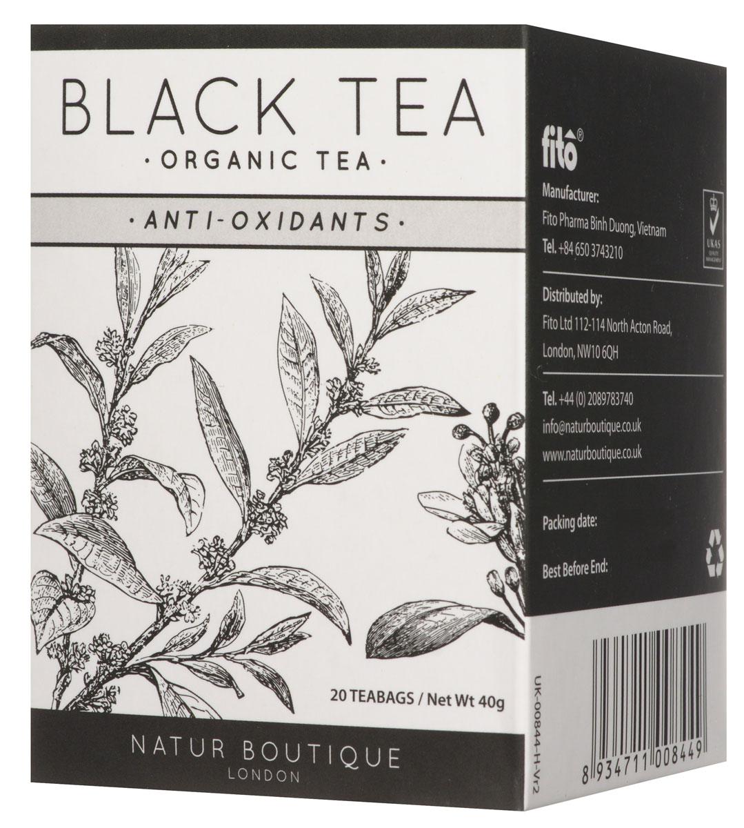 Natur Boutique Black Tea Organic органический черный чай, 20 пакетиков254Черный чай Natur Boutique Black Tea Organic содержит в себе большое количество антиоксидантов. Выращенный в горах, он был собран вручную, правильно высушен и ферментирован, что позволило создать по-настоящему безупречный аромат. Чем так отличен именно этот черный чай?Сорт Шан Ти стал очень популярным как в Азии, так и по всей Европе, что достигается благодаря его органике и уникальному вкусу. Уровень антиоксидантов в этом сорте значительно выше, чем в продуктах не высокогорного происхождения. Местные жители собирают его не более четырех раз в год, что помогает каждому листку как следует прорасти и набраться жизненной энергии гор. Каждый чайный пакетик придаст столько же наслаждения, сколько чай из рассыпной пачки. В его состав входят только высушенные высокогорные листья. Полное отсутствие каких-либо красителей и ароматизаторов!Польза для организма:Повышает жизненный тонусУлучшает психологическое и физическое состояние организмаНасыщает витаминами и отлично борется со свободными радикаламиУлучшает метаболизм, способствует нормализации весаЭтот черный чай выращивается в провинции Лао Кай, где за ним осуществляется постоянный контроль на основе уникальных органических методов. Чайное дерево удобряется компостом, а для достижения еще более высокого результат проводится обработка на основе специальных растительных экстрактов.После ручной сборки все листья сразу же отправляются на производство, где их ферментируют, закручивают, сушат и упаковывают в специальные пакеты.Всё о чае: сорта, факты, советы по выбору и употреблению. Статья OZON Гид