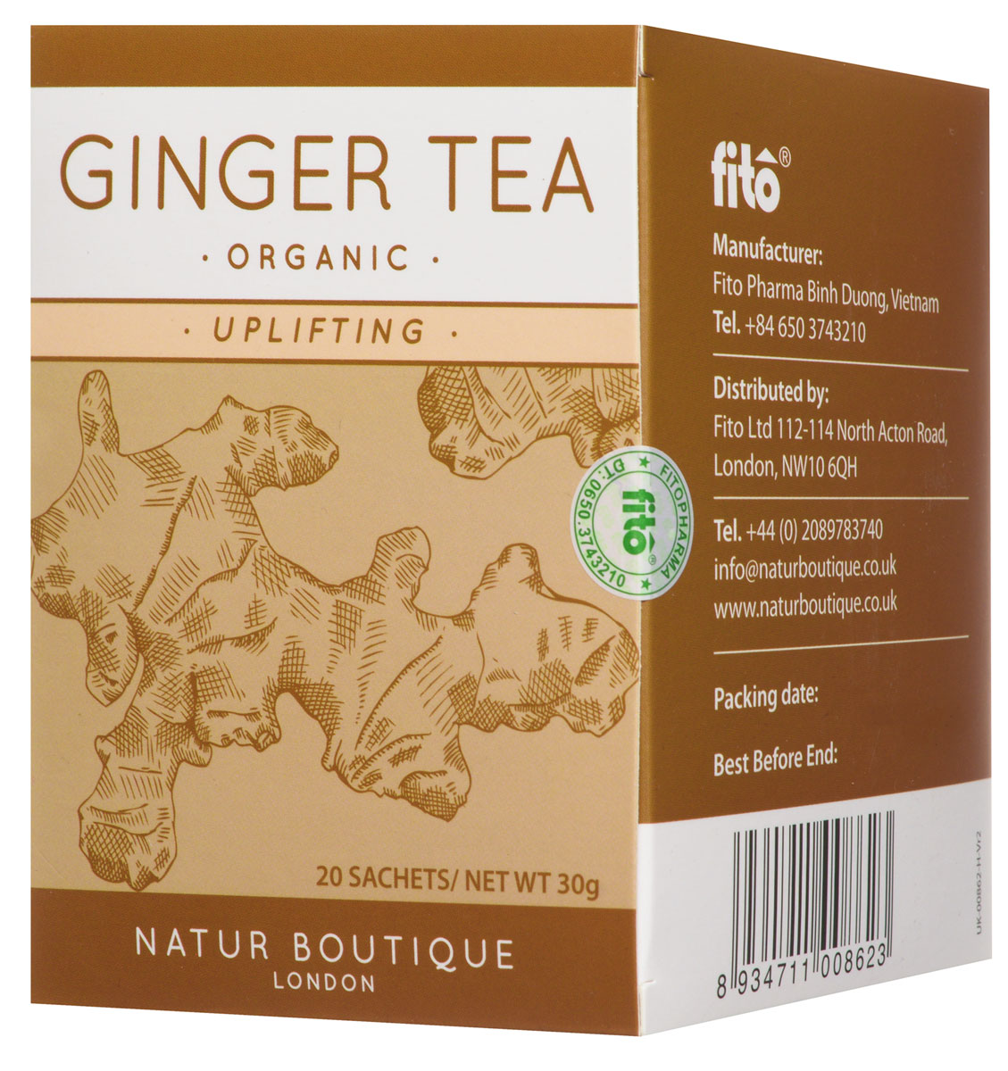 Natur Boutique Ginger Organic Tea органический чай имбирь, 20 пакетиков253Целебные свойства имбиря издревле известны тибетским лекарям и активно используются в современной медицине. А пить имбирный чай – это удобный и эффективный способ получить удовольствие и ощутить на себе пользу этого во всех смыслах горячего пряного растения.Имбирный чай Natur Boutique Ginger Organic Tea – настоящее спасение в холодное время года, при простуде, при замедленной циркуляции крови, при нарушении обмена веществ, и еще во многих случаях. А все потому что этот продукт:СогреваетСтимулирует кровообращениеУскоряет обмен веществТонизируетОбладает омолаживающим эффектомНейтрализует тошноту.Диетологи, неврологи, врачи прочих специализаций рекомендуют включать имбирь в рацион, добавлять во все блюда, от супа до десерта. Пряный жгучий корень можно найти на прилавках продуктовых магазинов в различном виде: цельного корня, маринованных листочков, сухой приправы. Имбирный чай во многих кофейнях и барах зимой позиционируется как фирменный напиток дня. А вы можете просто купить имбирный чай и получать удовольствие от вкусного и полезного напитка у себя дома, в любое время суток.Имбирный чай имеет довольно специфический, хоть и приятный вкус. Если для вас он в новинку, стоит начать с малых доз, чтобы привыкнуть и начать наслаждаться напитком. А стакан имбирного чая за 40 минут до еды уменьшает аппетит.